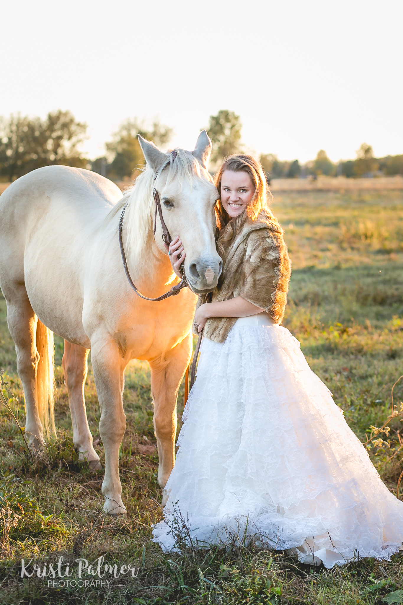 senior girl in gown with horse oklahoma
