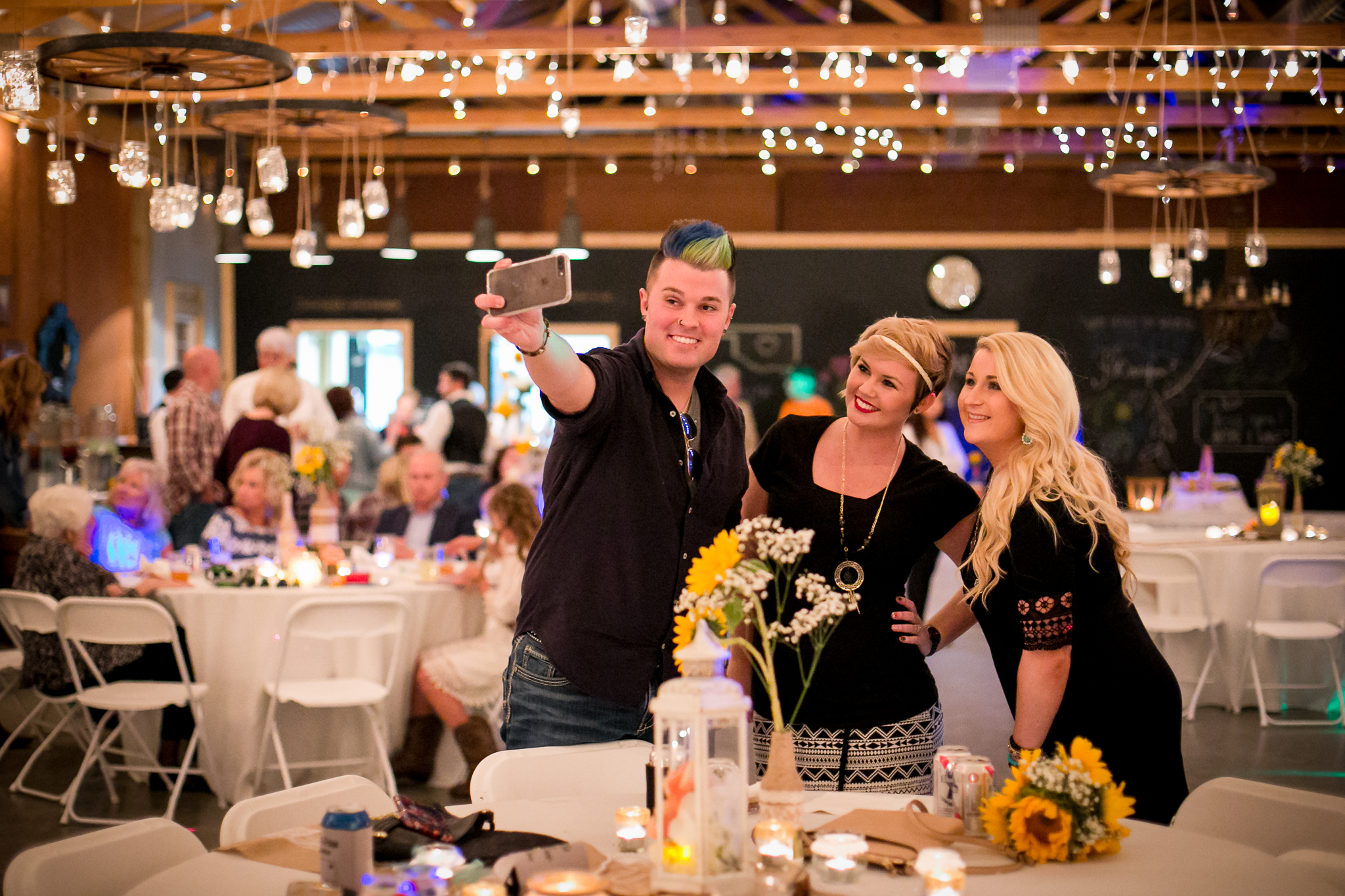 wedding reception guests selfie