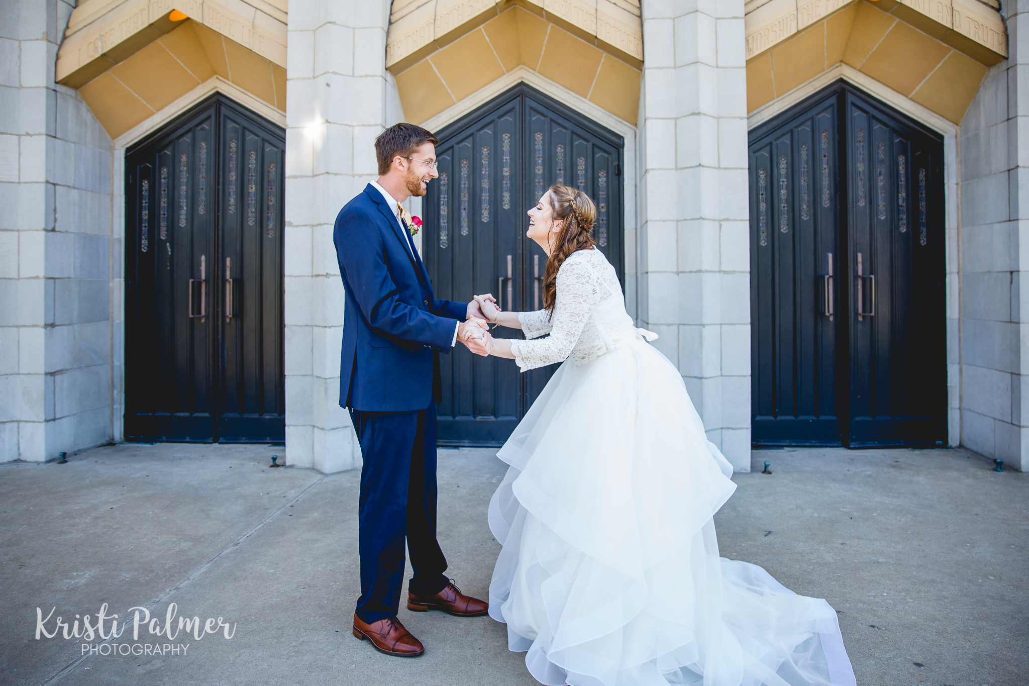 first look bride and groom downtown tulsa