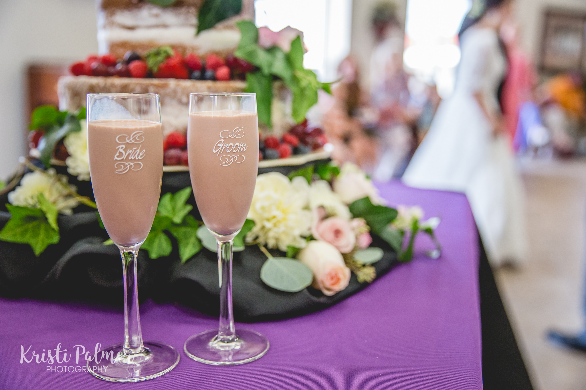bride and groom reception glasses chocolate milk