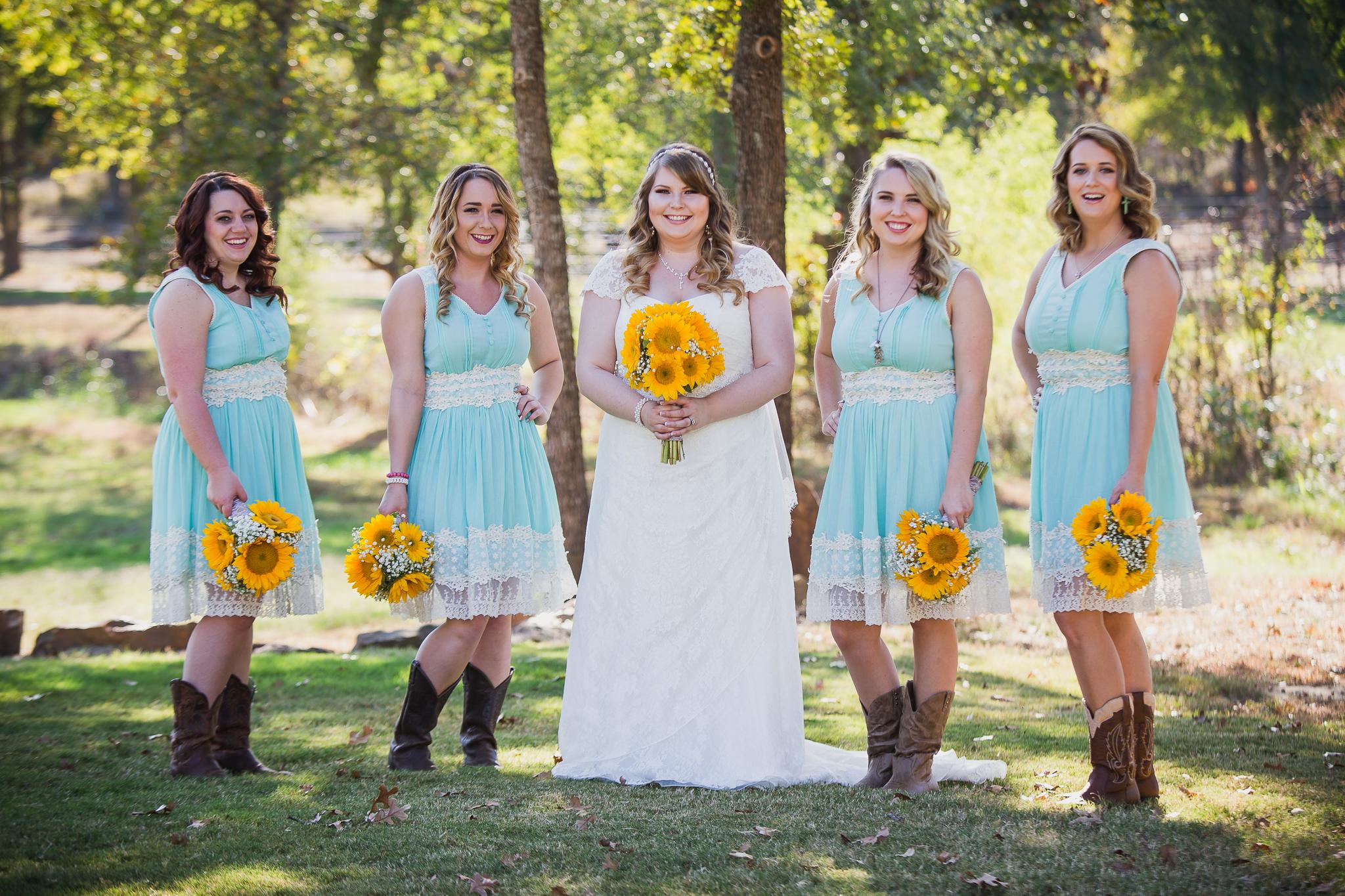 bride and bridesmaids portrait sunflowers