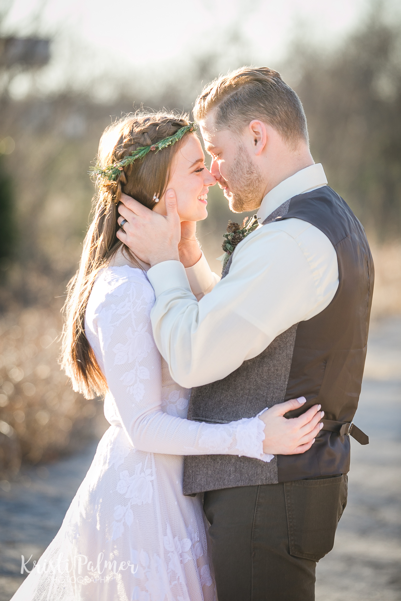 bride and groom romantic portrait