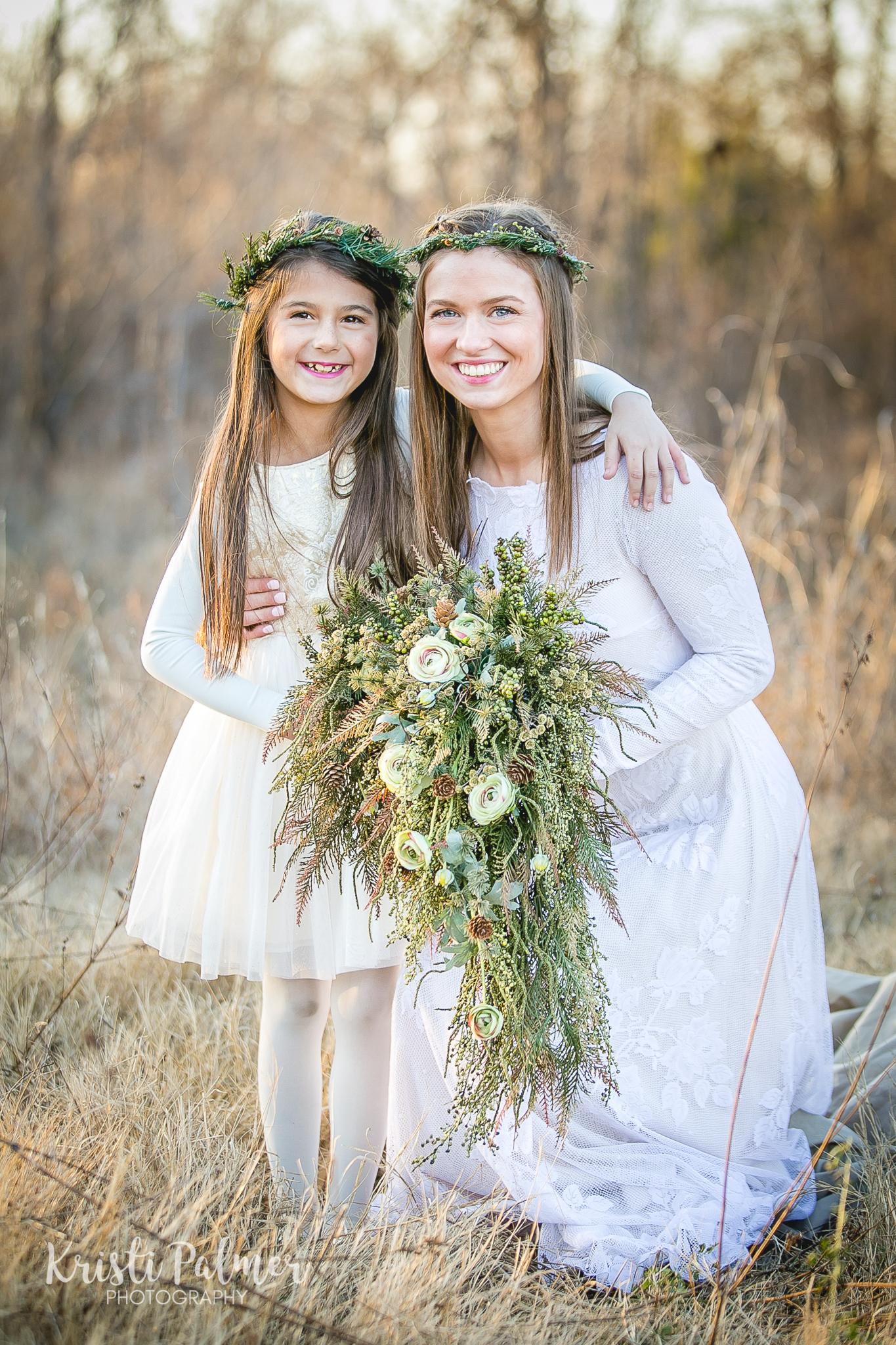 tulsa bride with flower girl