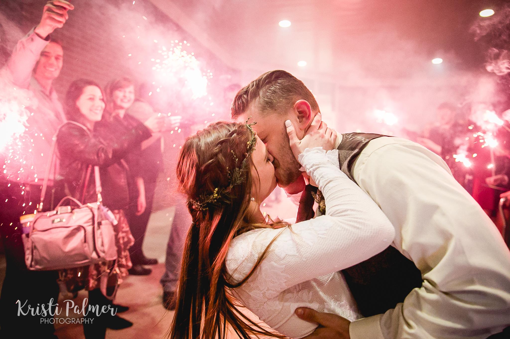 wedding kiss send off bride and groom tulsa