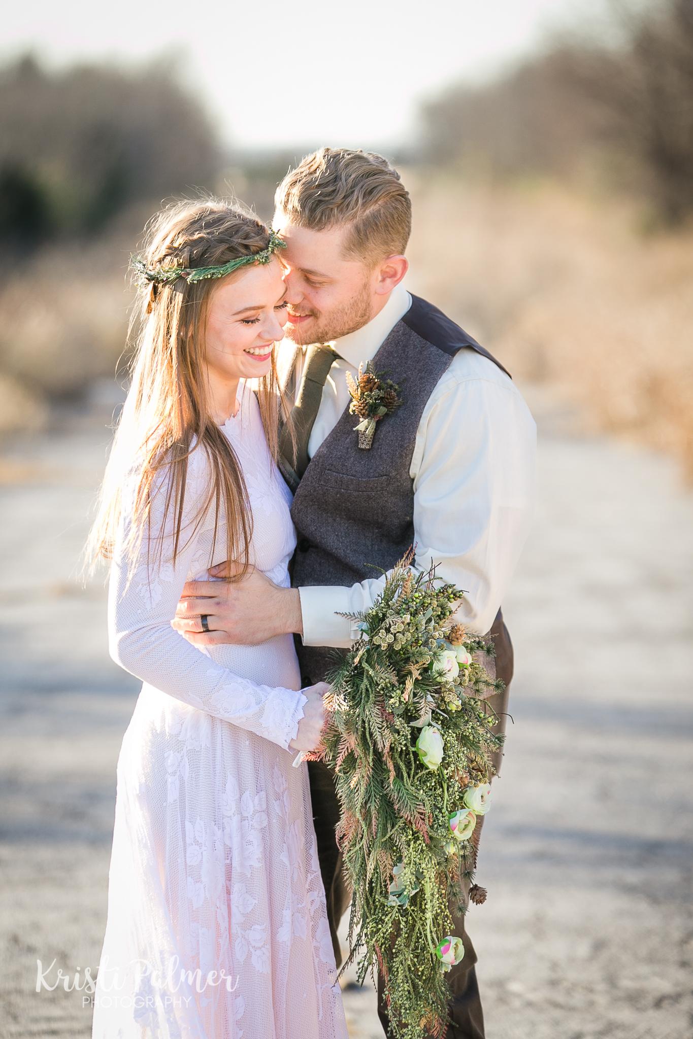 romantic bridal portrait bride and groom