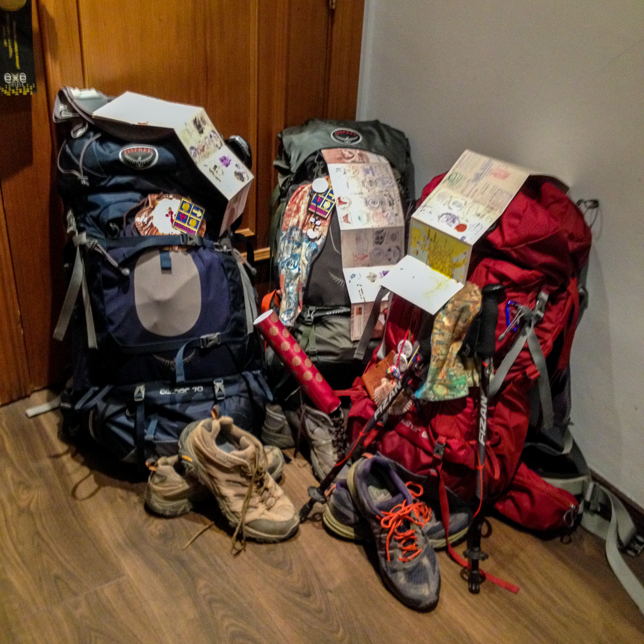 """Our post-camino """"trimmed"""" down packs and stinky/well worn shoes."""