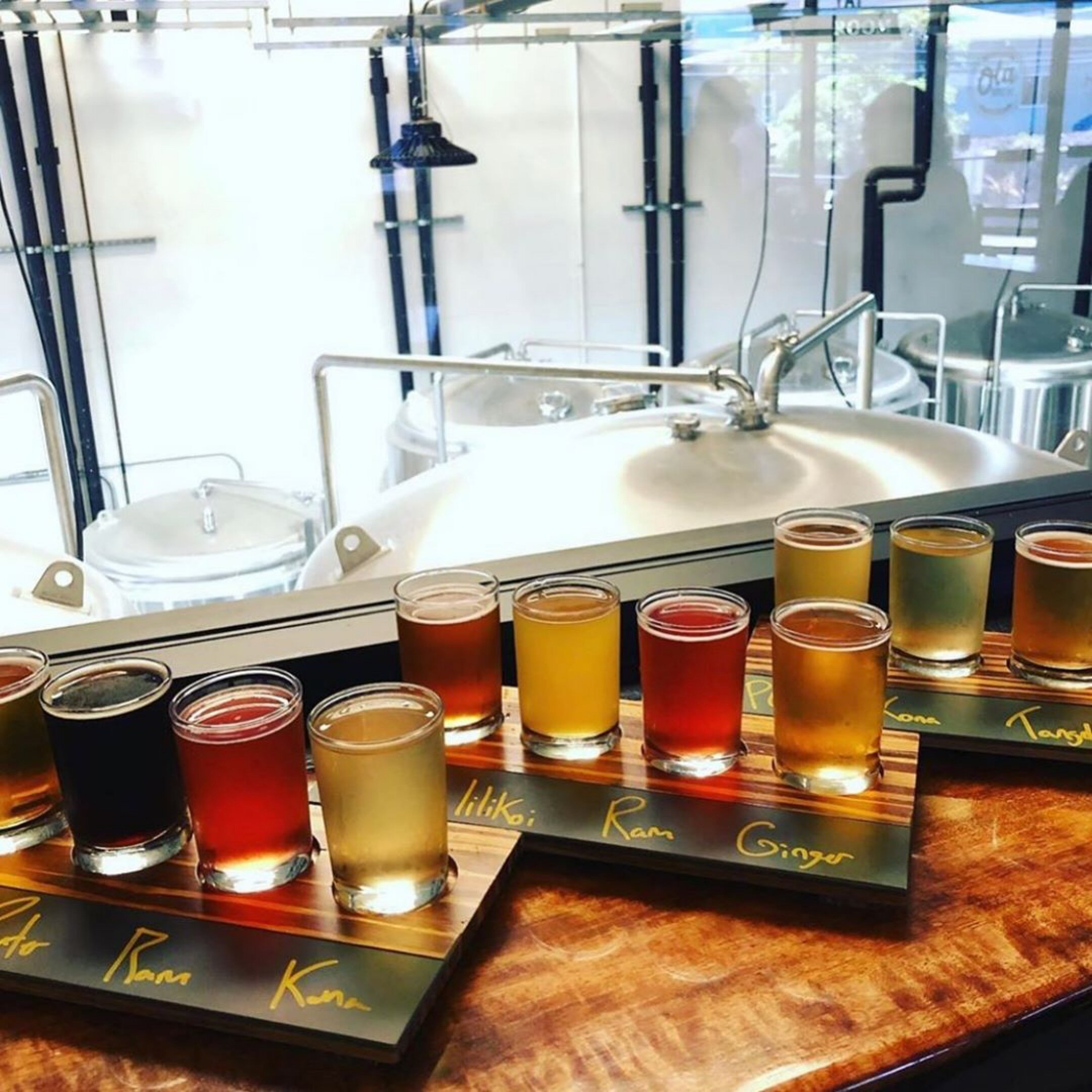 Tasting flights at Old Brew. Courtesy photo.