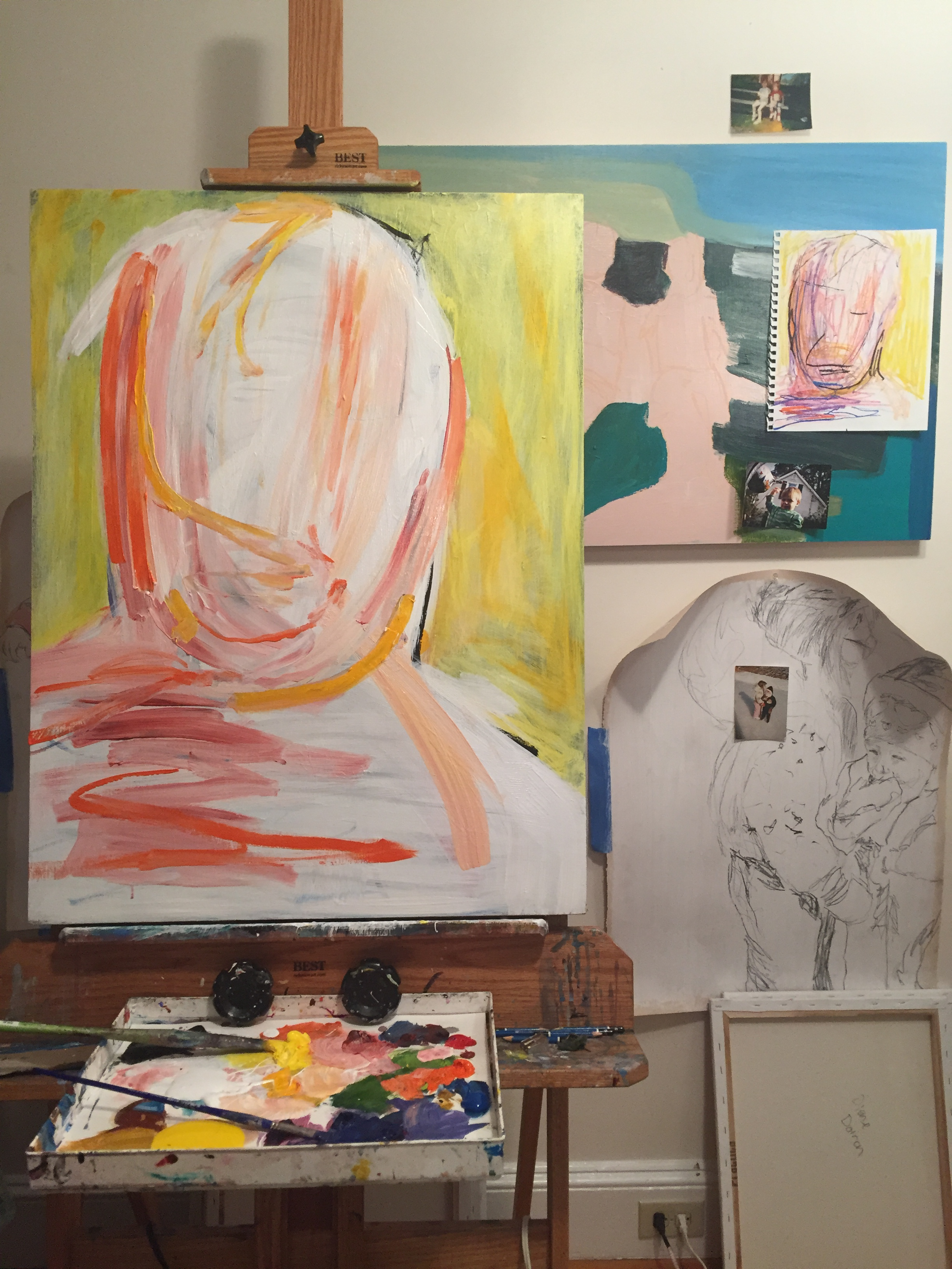 Karrie's studio space, with sketch and photo reference.
