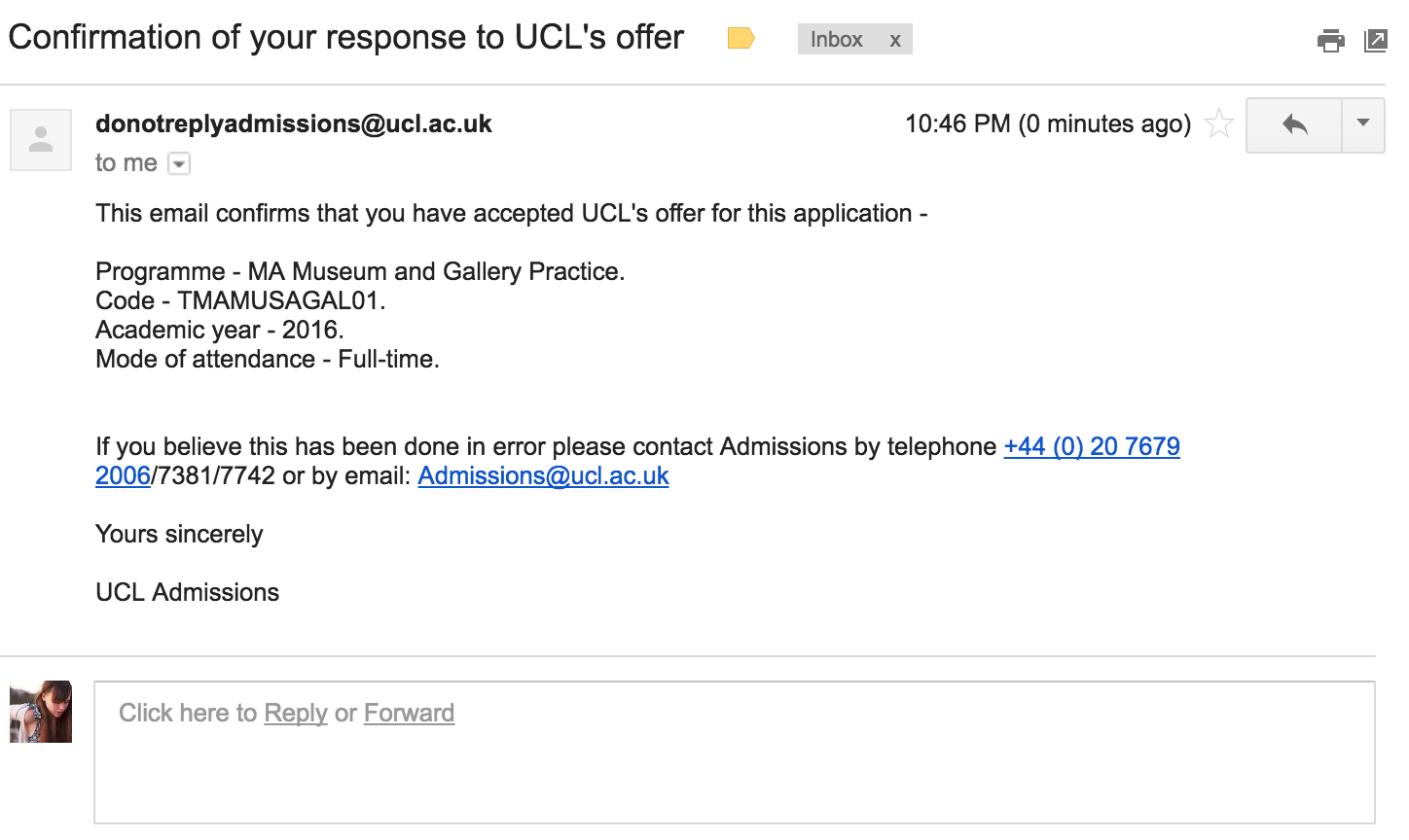 Cue frantic call and solicitations for life advice from UCL Admissions Staff