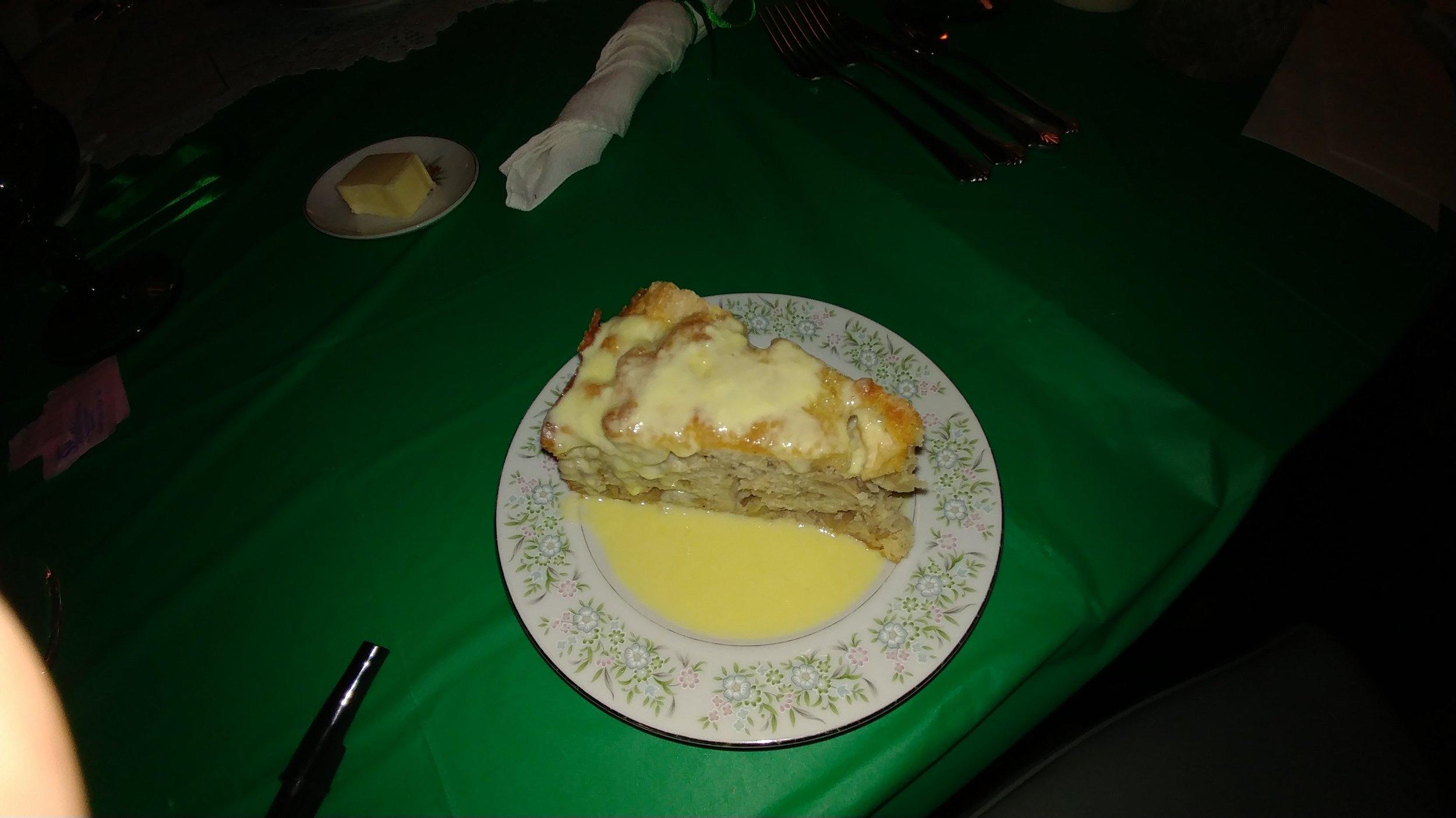 Irish apple cake with a warm custard sauce.