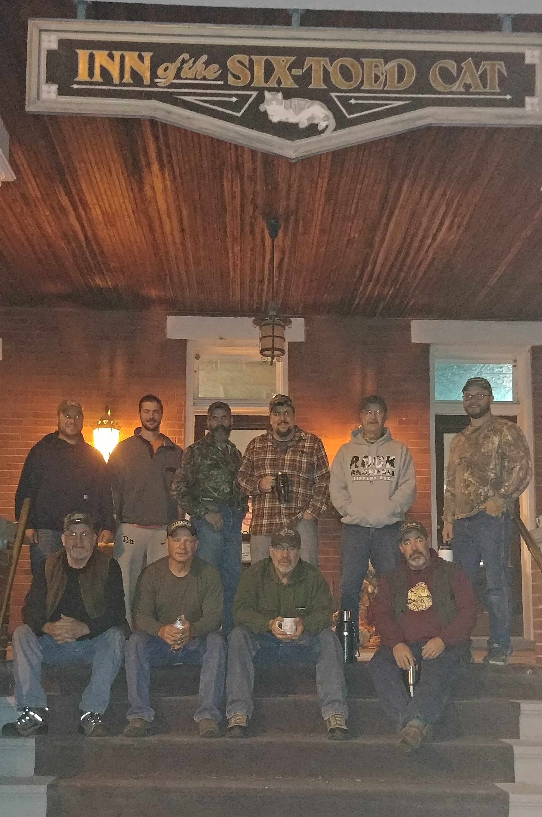 Schneider family's 2017 Brothers & Others Hunt on the steps of the Inn.