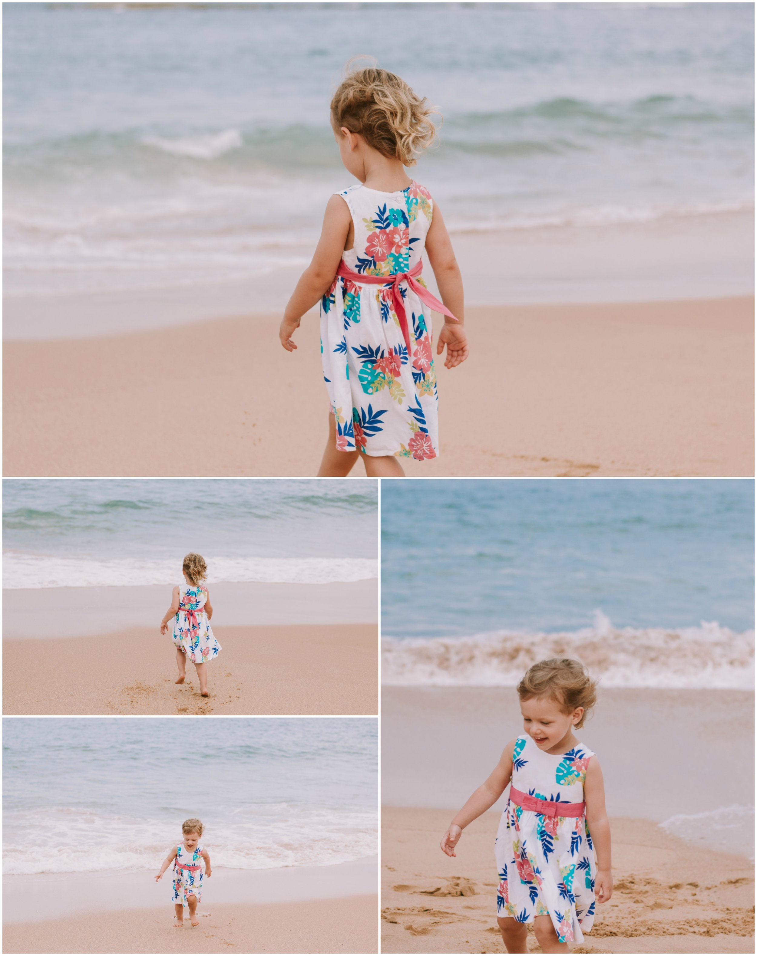 child running away from the waves
