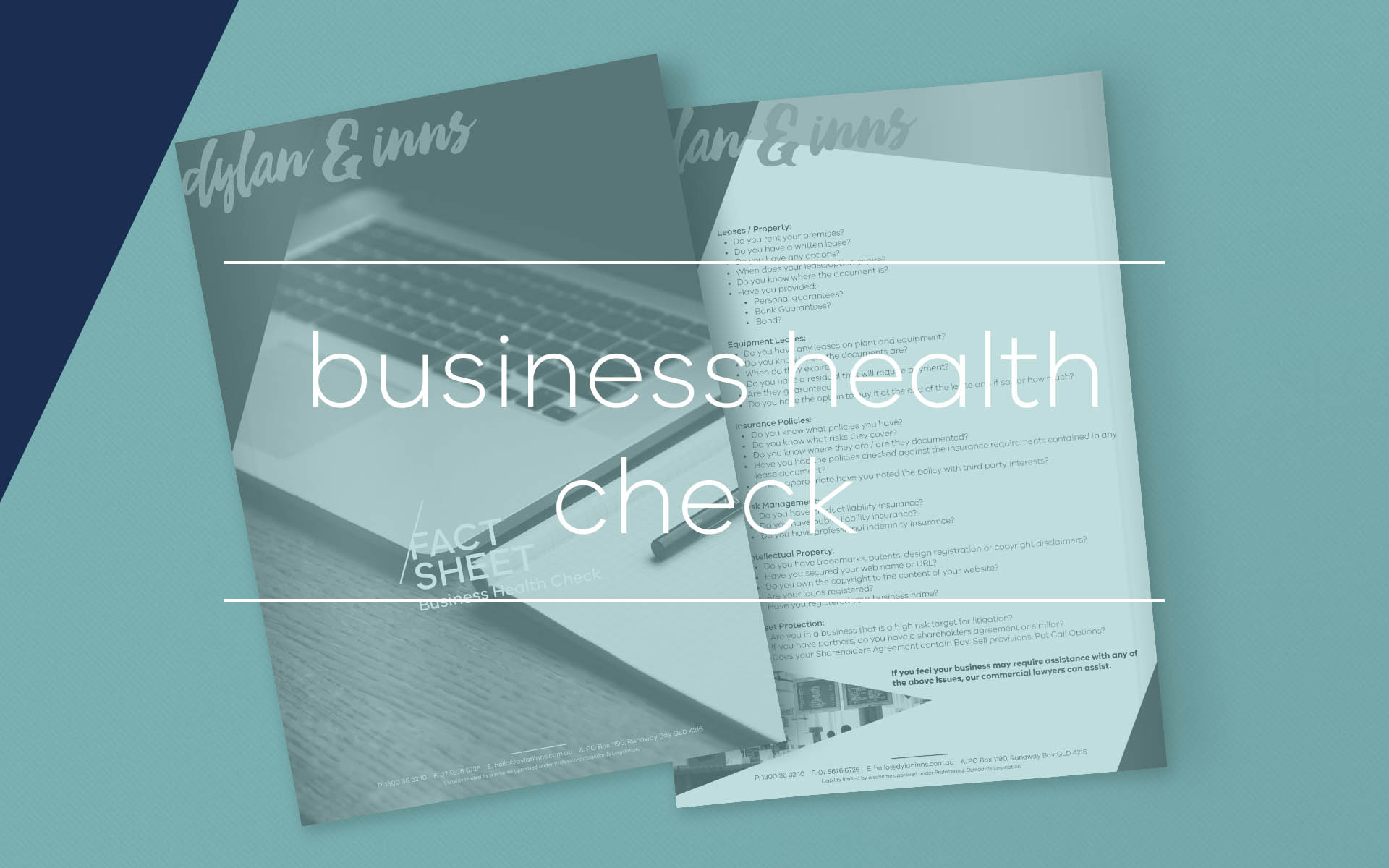Our business lawyers put together this fact sheet which contains a quick business health check to highlight issues you may need to address as a business owner.