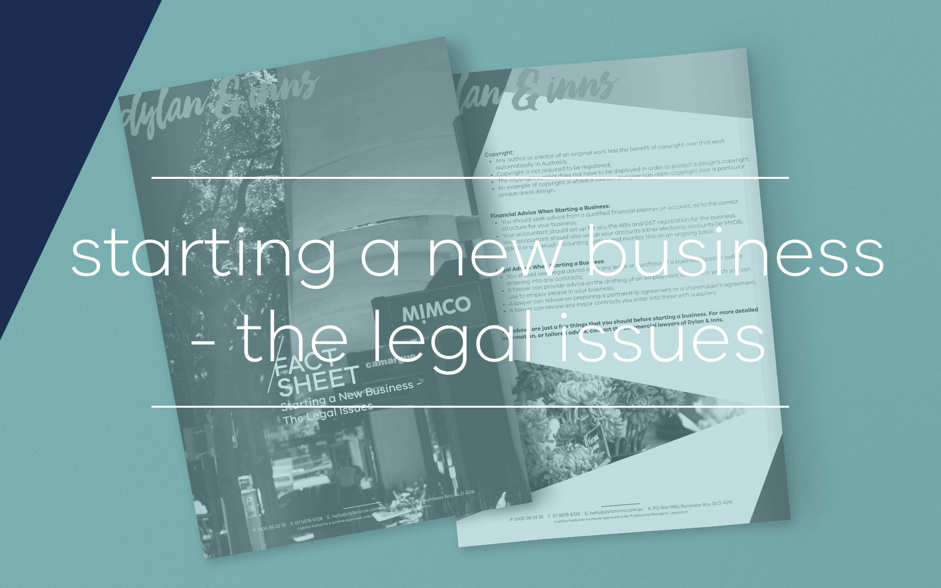 This fact sheets contains information on the steps involved in starting a new business and highlights several issues where a business lawyer can provide assistance.