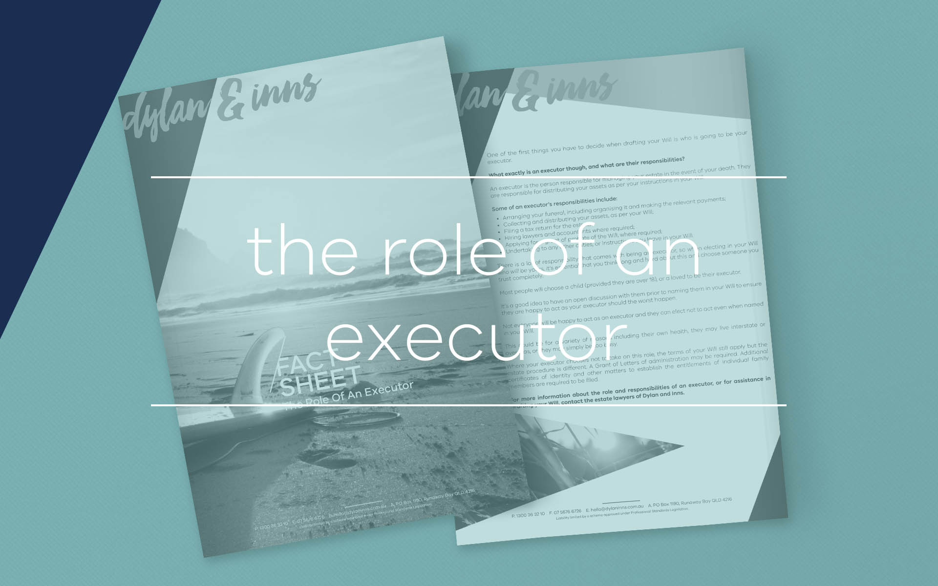 When drafting a Will you must elect a person to act as your executor in the event of your death. This fact sheet contains more information on the role of an executor and their responsibilities.