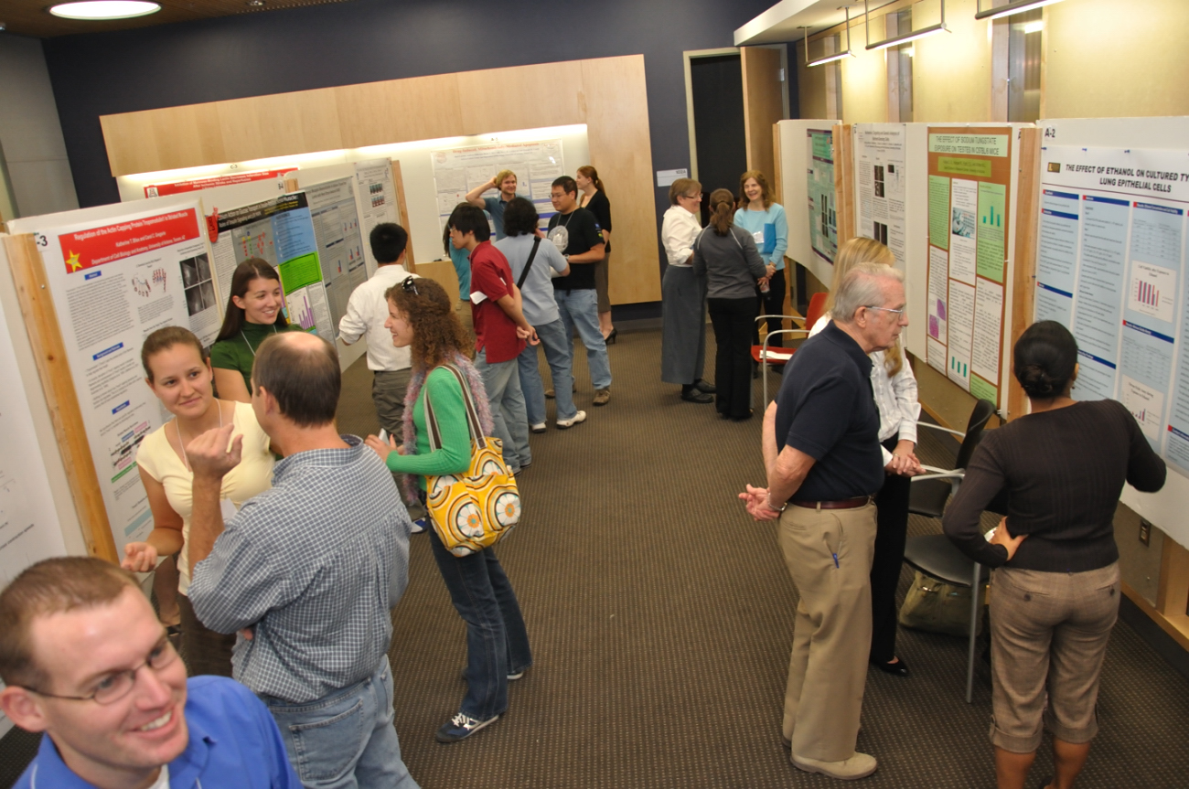 Members browsing through scientific posters