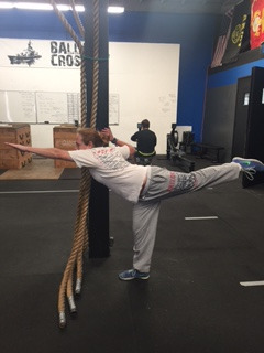 """WEDNESDAY 30MAR16  Warm up 800m group run  Skill Work 3 RNFT 5ea. windmill  30"""" wall sit with band above knee 5 Squats 30"""" Banded stretch  1:00 Handstand hold or max which ever comes first  Round air squat OHS with PVS OHS with barbell  Strength 20'  3 rep TNG power clean  Conditioning 12' Time cap 5-4-3-2-1 OHS @ 185/115 rope climb  scales rope climb=L1 rope climbs from the back"""