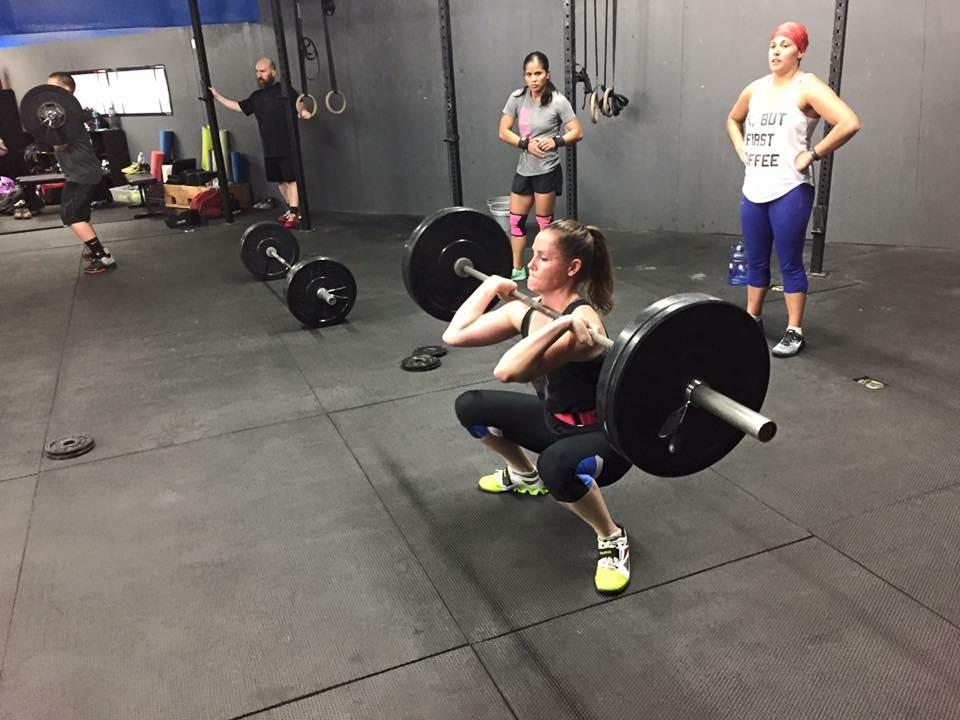"MONDAY 14MAR16  1. 5' JR 2. 2 RNFT: 	2ea kb/db thruster + windmill + ohs 	10 ext 2 hollow 	3 strict pull ups: 3"" eccentric + pause @ top ea rep 	5 band around knee squat  3. OHS 5-5-5-5-5 (18') 4. 21-15-9 (10' time cap) 	thruster 95/65 	pull up"