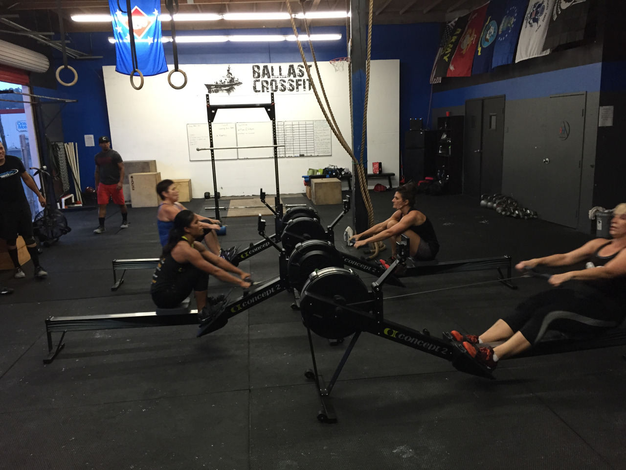 MONDAY 28DEC15    Monday    1. 2 RNFT:  250m row + 200m run + bear crawl + crab walk  2. 2 RNFT:  2 strict t2b + 3 kipping t2b   5 ring row w/ 3'' pause @ top of each rep  30'' russian baby maker stretch   HS walk/HS hold practice  3. 20' to find heavy 2 front squat + 1 split jerk   3a. seated single arm press w/ 3'' descent 5-5-5-5  3b. seated good morning 5-5-5-5  4. 8' amrap:  5/3 c2b pull up  10 thruster 95/65  10/7 c2b pull up  10 thruster  15/10 c2b pull up  10 thruster  20/15 c2b pull up  10 thruster  25/20 c2b pull up  10 thruster  30/25 c2b pull up  10 thruster  AMAP c2b pull ups w/ remaining time