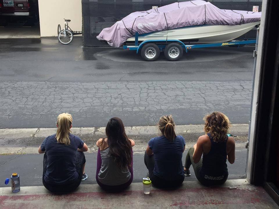 Coach Jamie hanging out with some ladies after the 9:30am class.