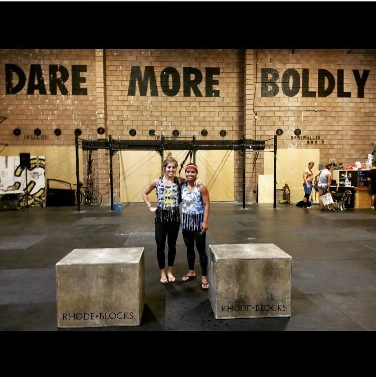 Coach Jamie and Coach Joan during last Fridays competition at Stay Classy CrossFit.