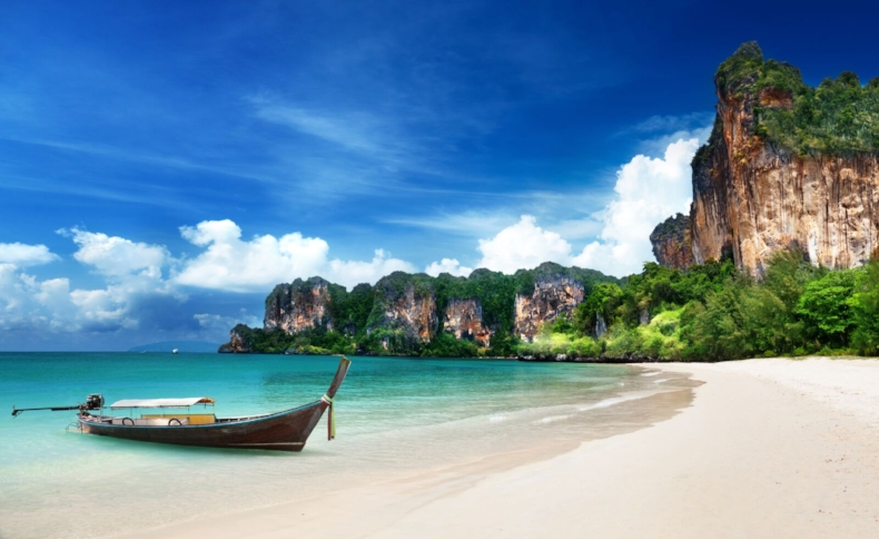 Longtail Boat On The Shore Of Railay, Thailand