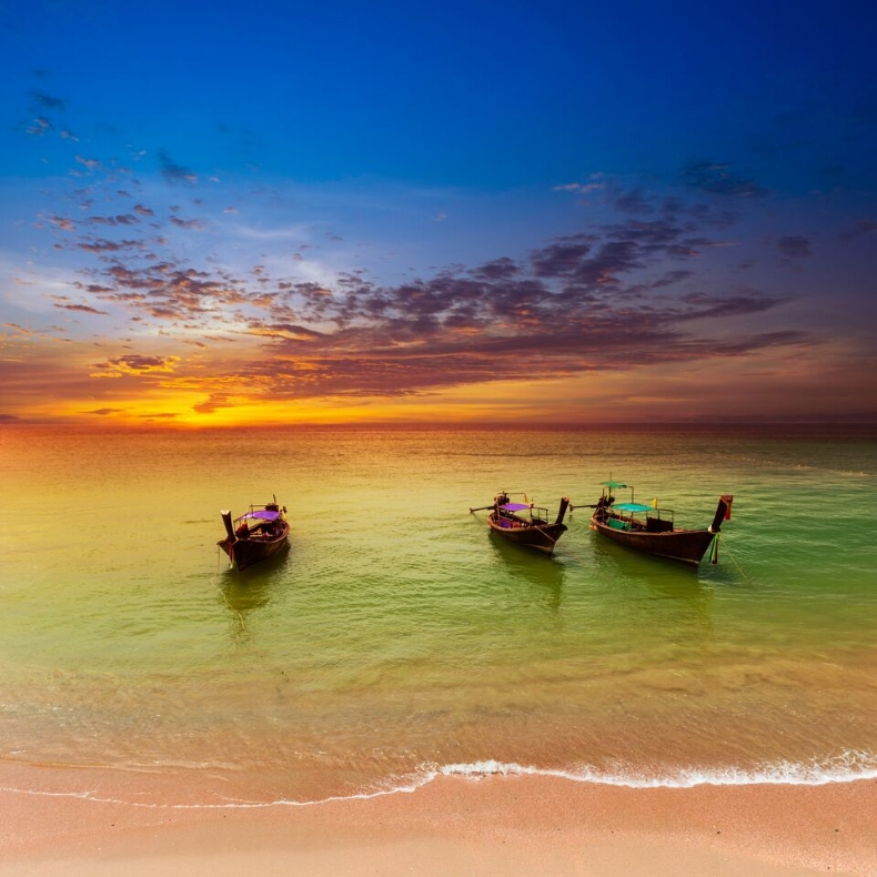 Sunset Across the Ocean in Thailand