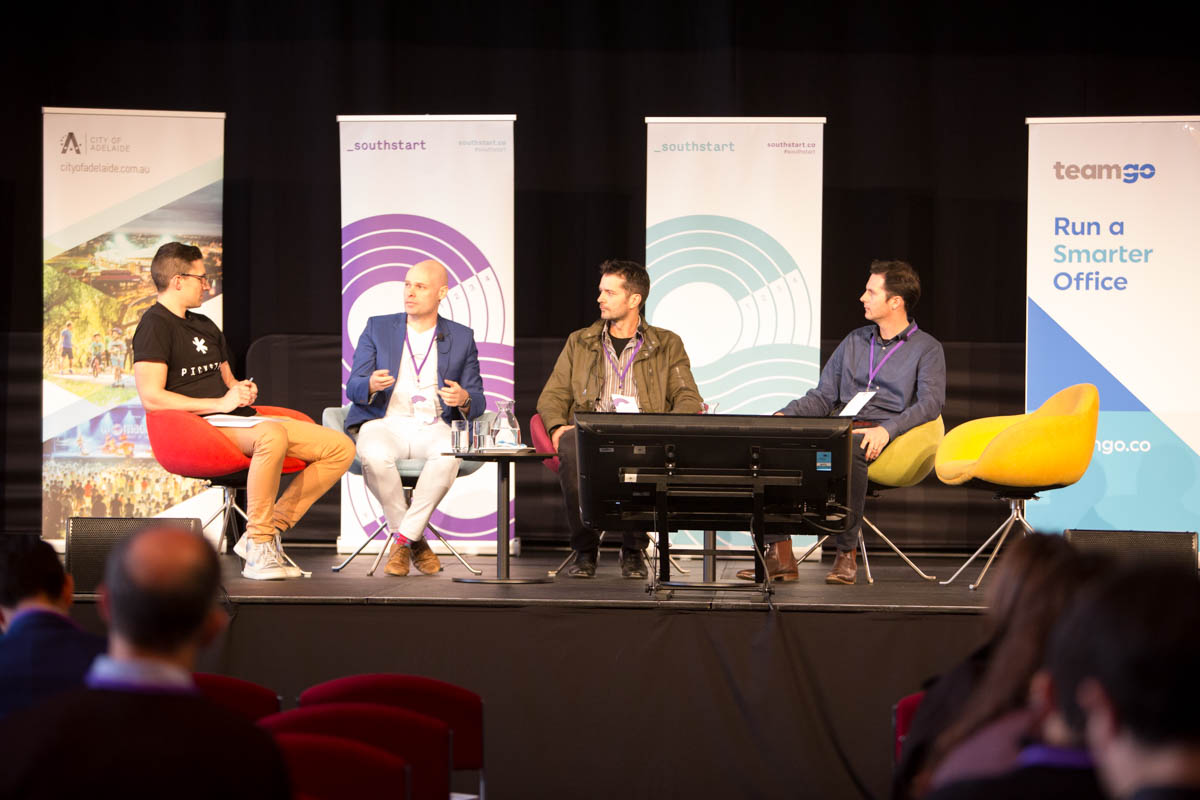 Dan Draper, David Trumbull and Ed Hartley talk to Rooster Radio's Andrew Montesi at SouthStart 2017. Images: James Knowler.
