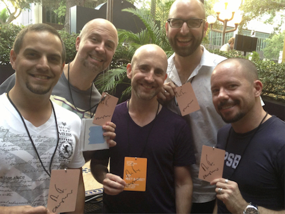 My friends and me with our signed VIP passes for the Electric Tour in 2013.