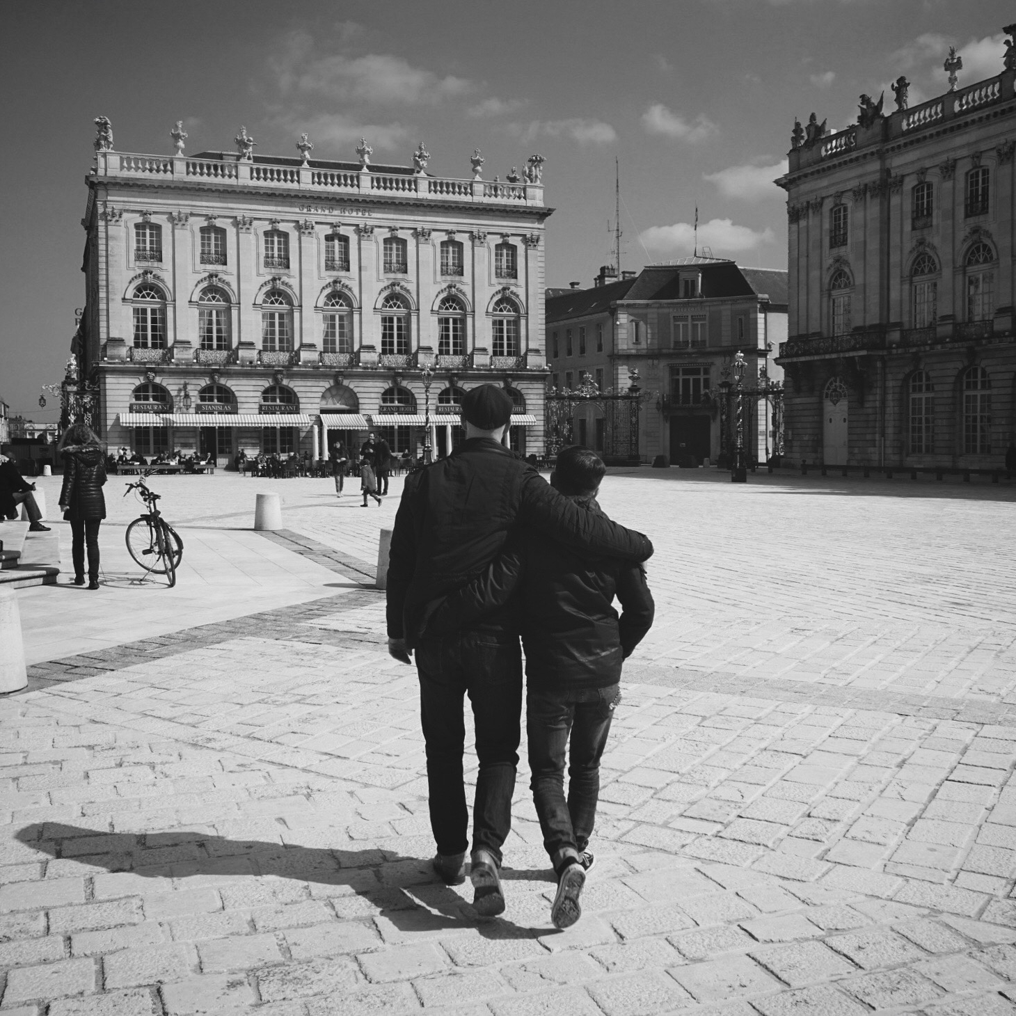 Strolling through the town square of Nancy, France, March 2018.