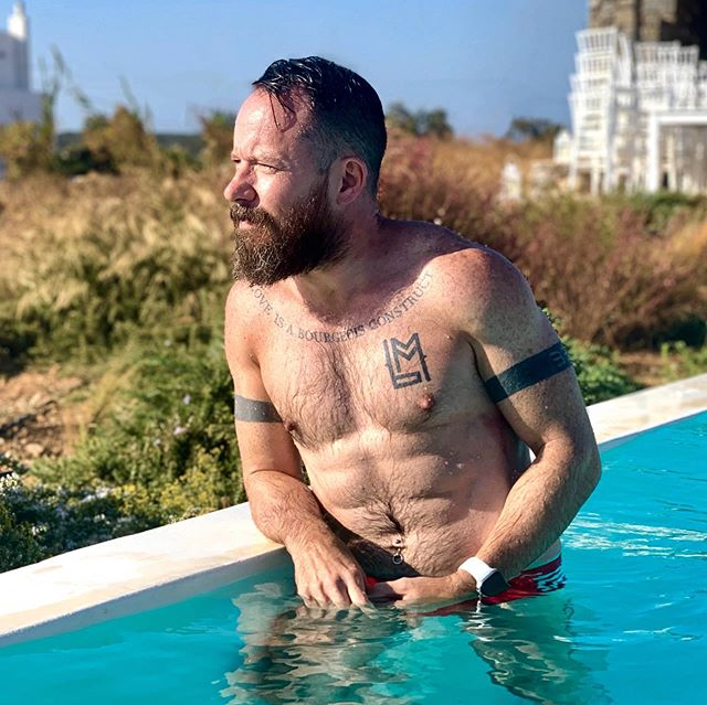 Poolside reflections on our incredible Greek holiday before heading back to reality... . . . . . #beard #instabeard #instamuscle #beardsandtatts #holiday #vacation #pride #mediterranean #muscle #bodypositive #lovelife #summer #greece #greekislands #paros