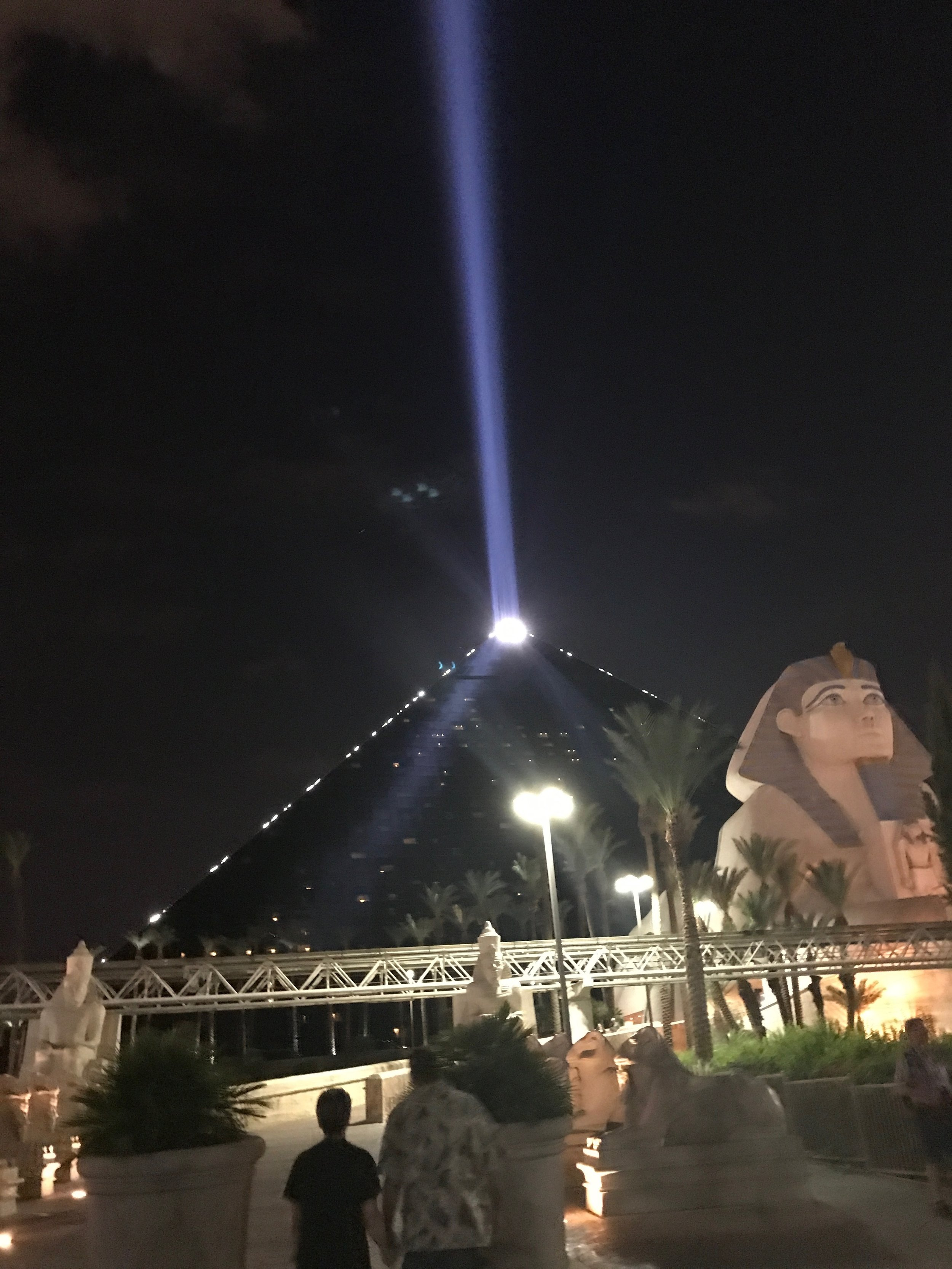 The Luxor at night - you can see the light all the way across the strip!