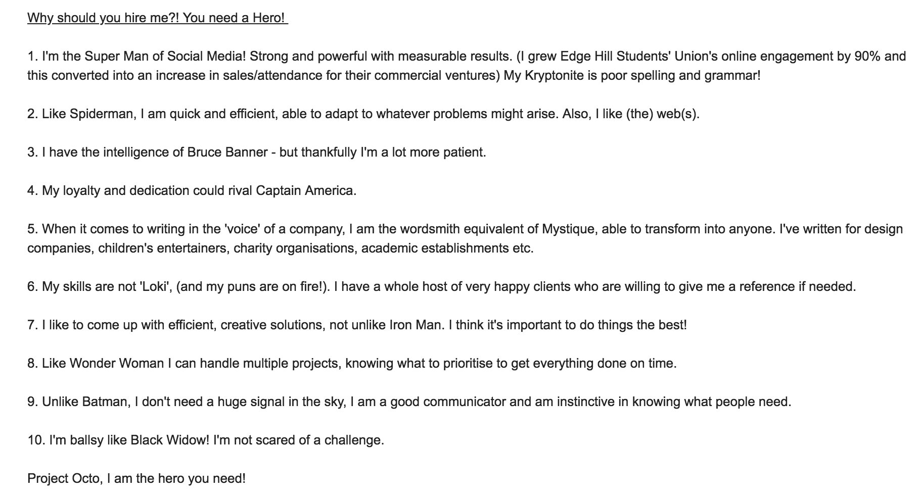 My cringey winning cover letter…!