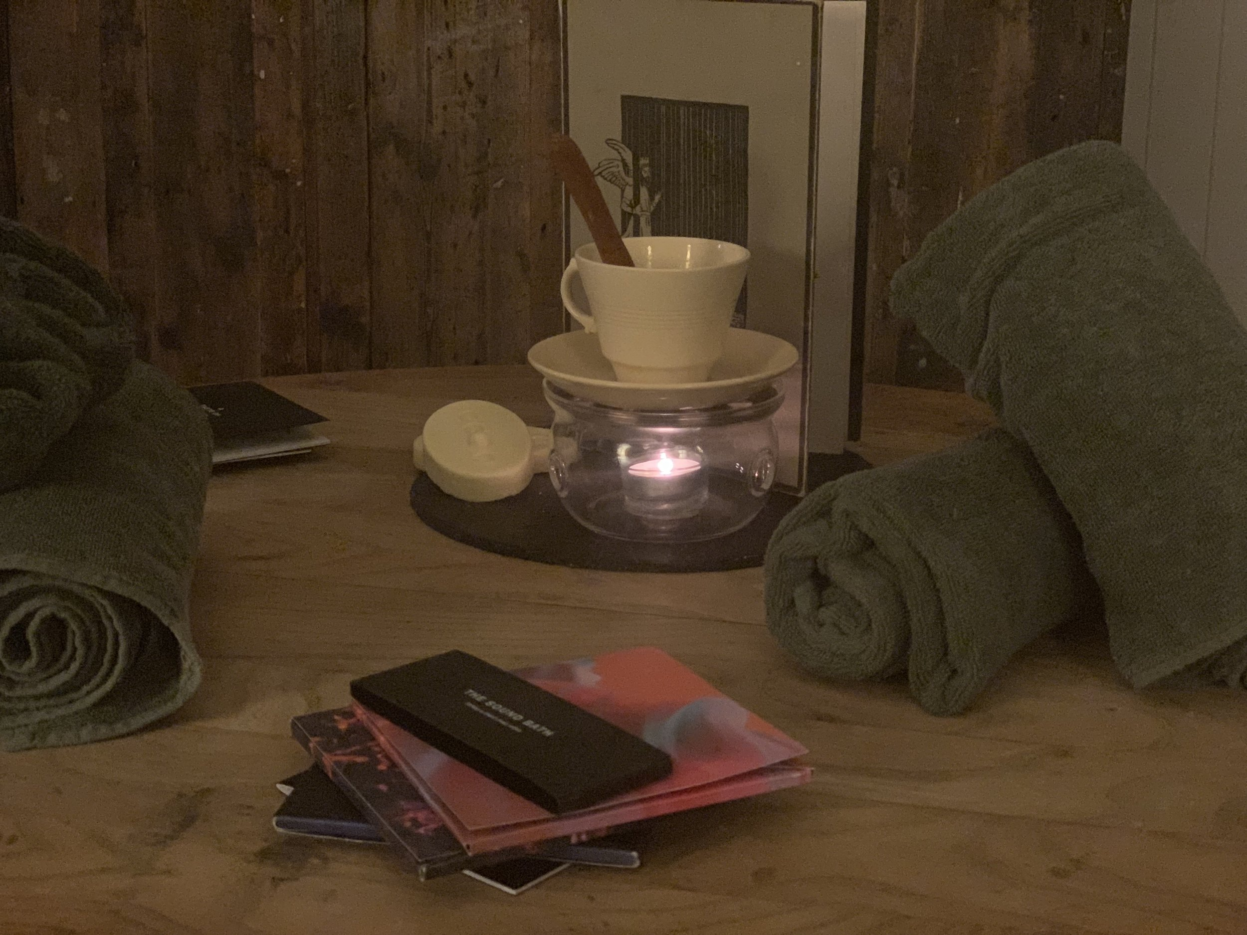 A picture of towels and Lush pregnancy products at the Lush spa in Liverpool