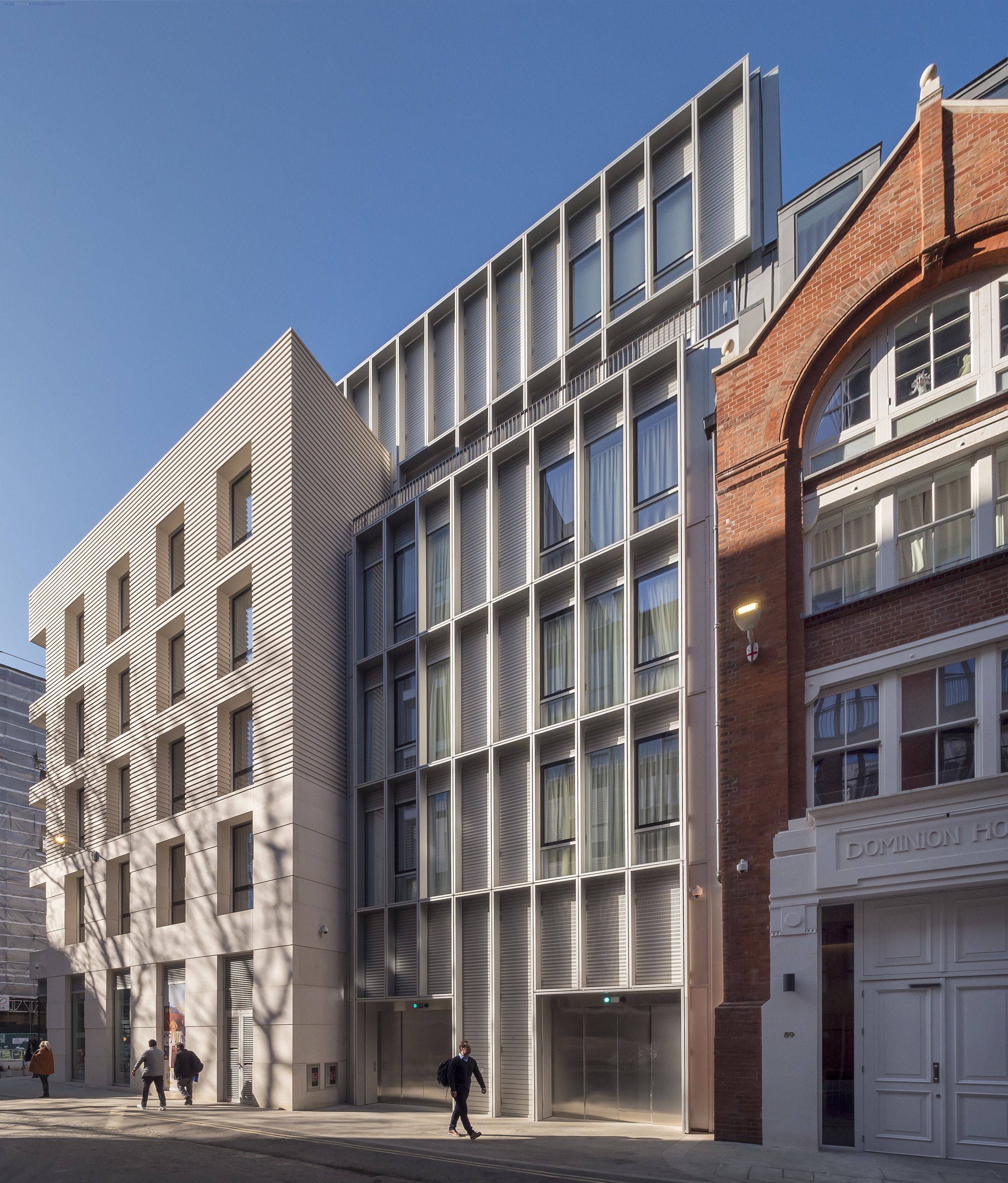 Contrasting the old and new architectural details that form the facade of the Barts Square residencies.