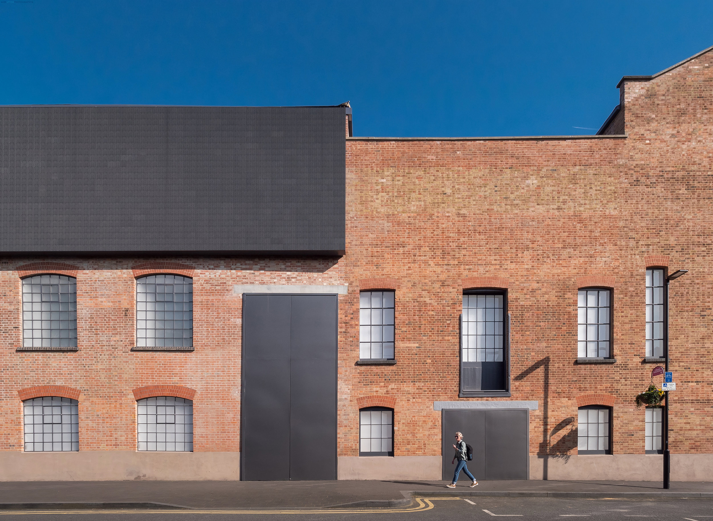 Contrasting the old and new brickwork along Newport Street Gallery's facade.