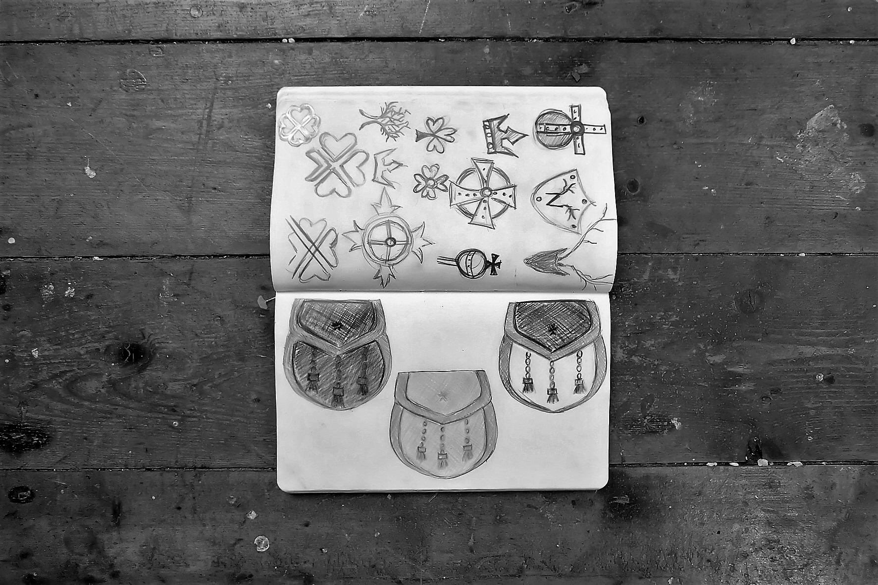 Early sketchbook ideas for logo designs and initial concepts for The 1834 collection.