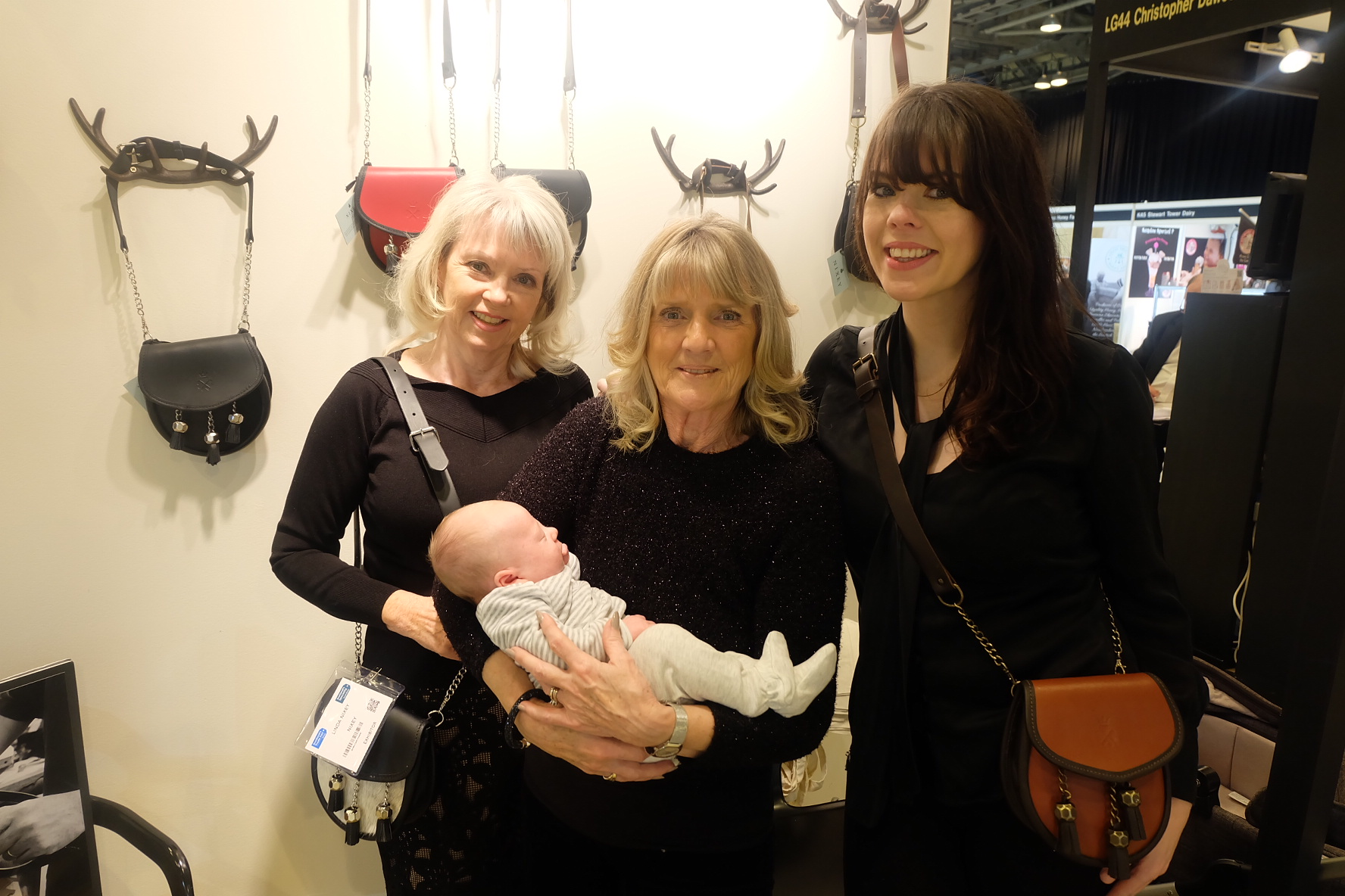 Left to Right, Linda (Sales Advisor and Glamorous Grandma 1),Sandra (Sales Advisor and Glamorous Grandma 2),Baby Dylan (Little Assistant), Laura (Founder and Mummy)