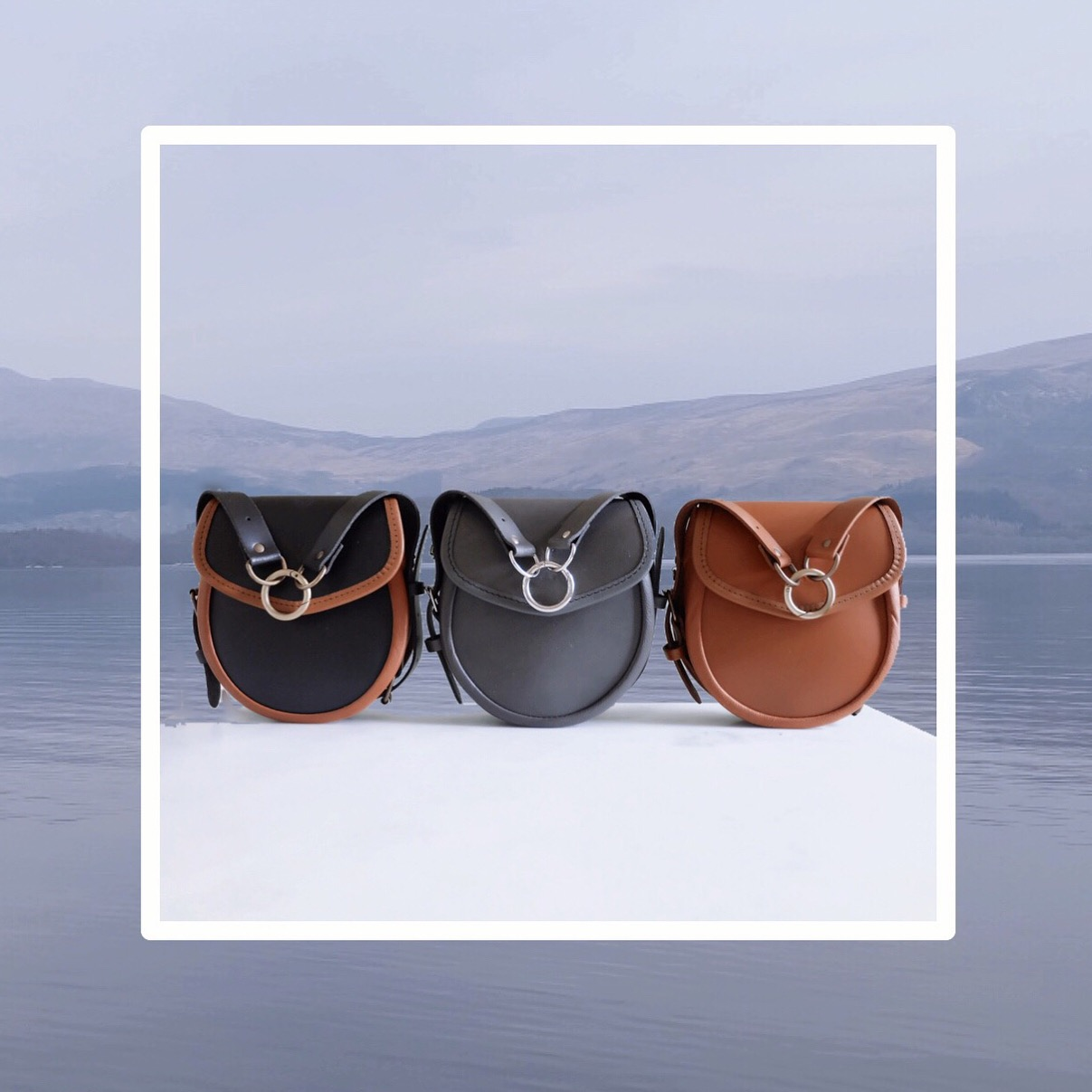 The new Lomond bags in Raven & London Tan, Sky Grey & London Tan