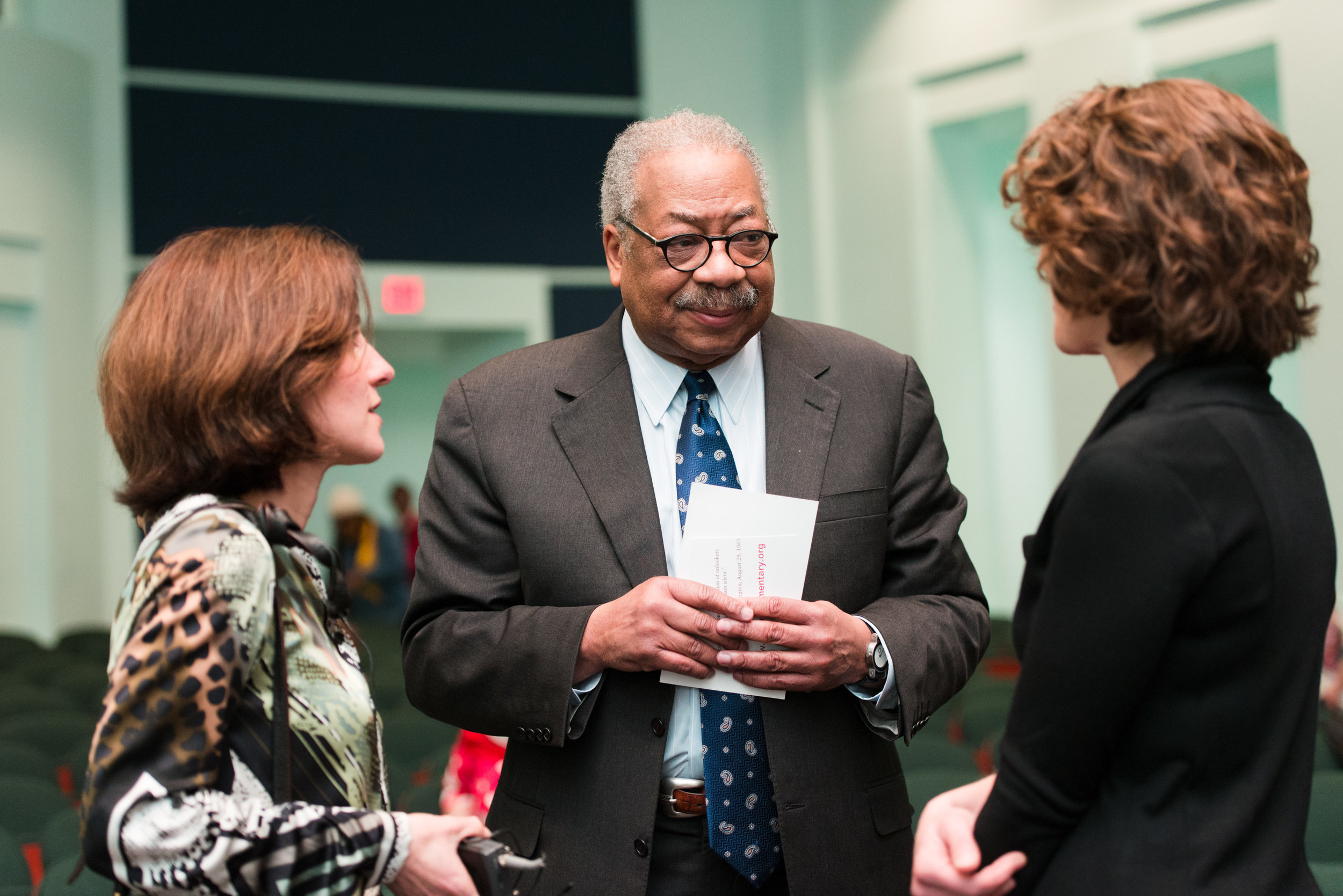 Clement Price with Rachel Pasternak (left) and Rachel Fisher (right) at the Institute for Ethnicity, Culture and the Modern Experience's screening of  Joachim Prinz: I Shall Not Be Silent  at the Newark Museum, 2014.