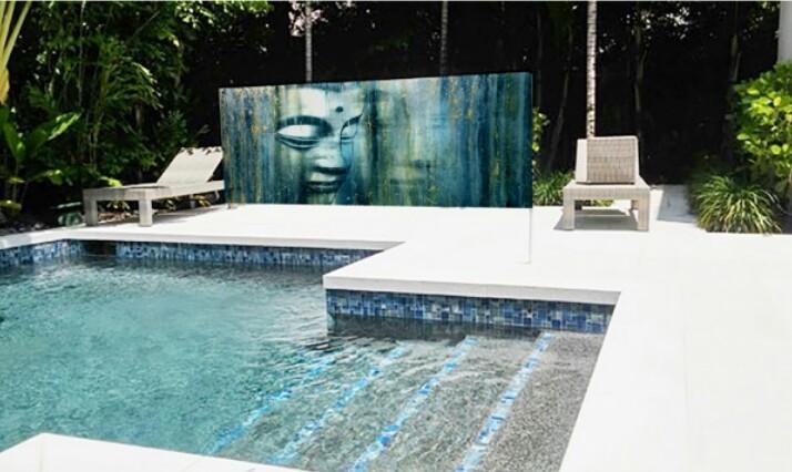 Buda Artwork at pool wall