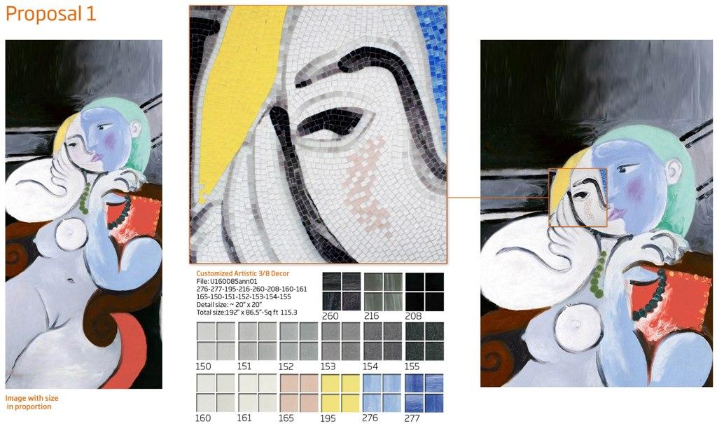 Picasso Glass Tile Mural Sample