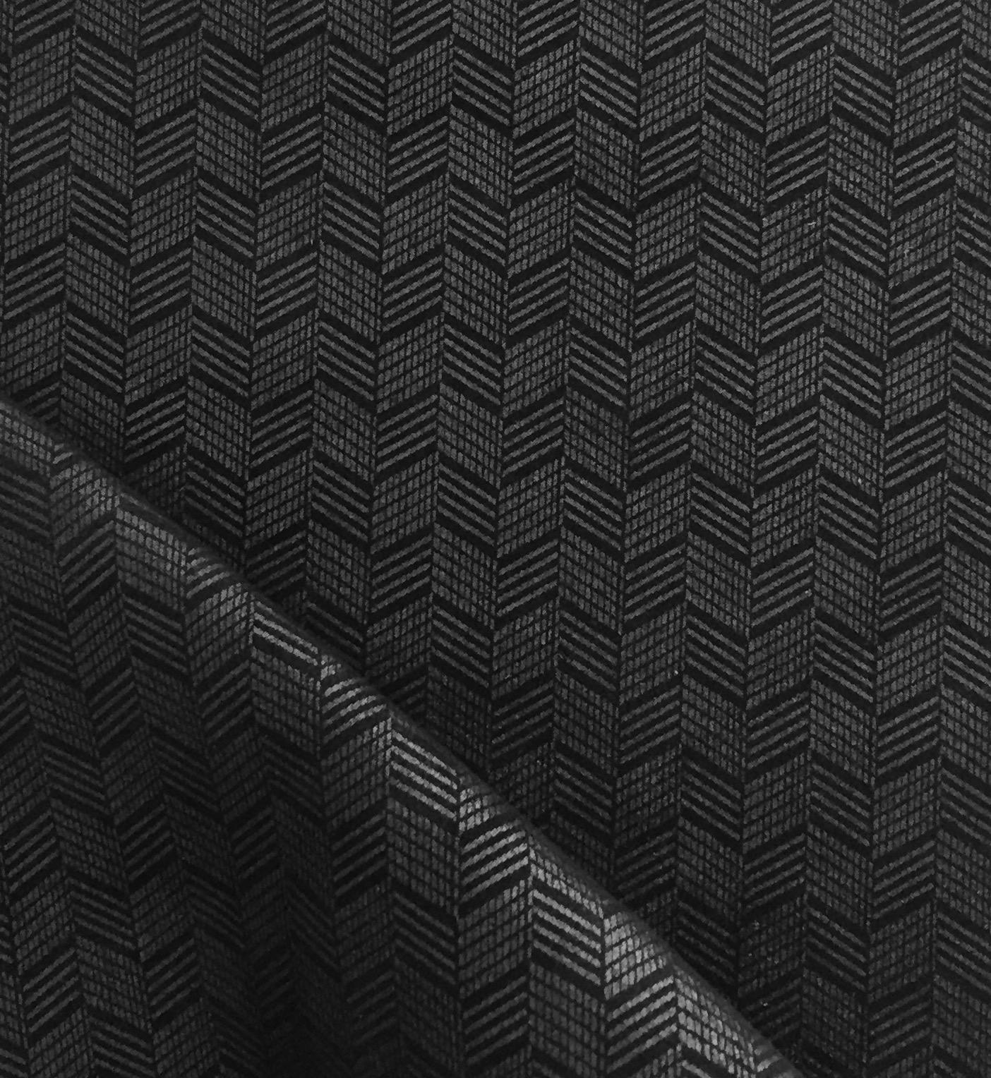 Chevron Pattern, Gunmetal foil on Black