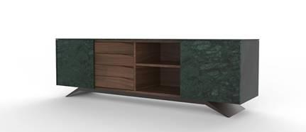 Trigono Custom Sideboard Green Guatemala Marble Walnut wood