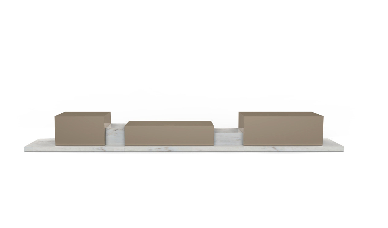 Podium Sideboard Calacatta Marble Lacquered MDF Sideboard