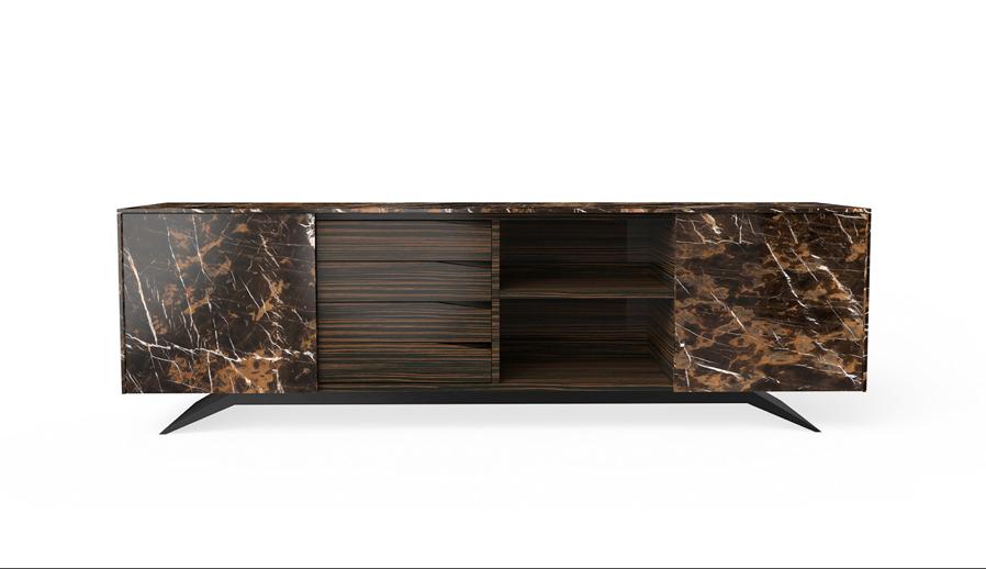 Trigono Sideboard in Black Gold Marble and Ebony wood