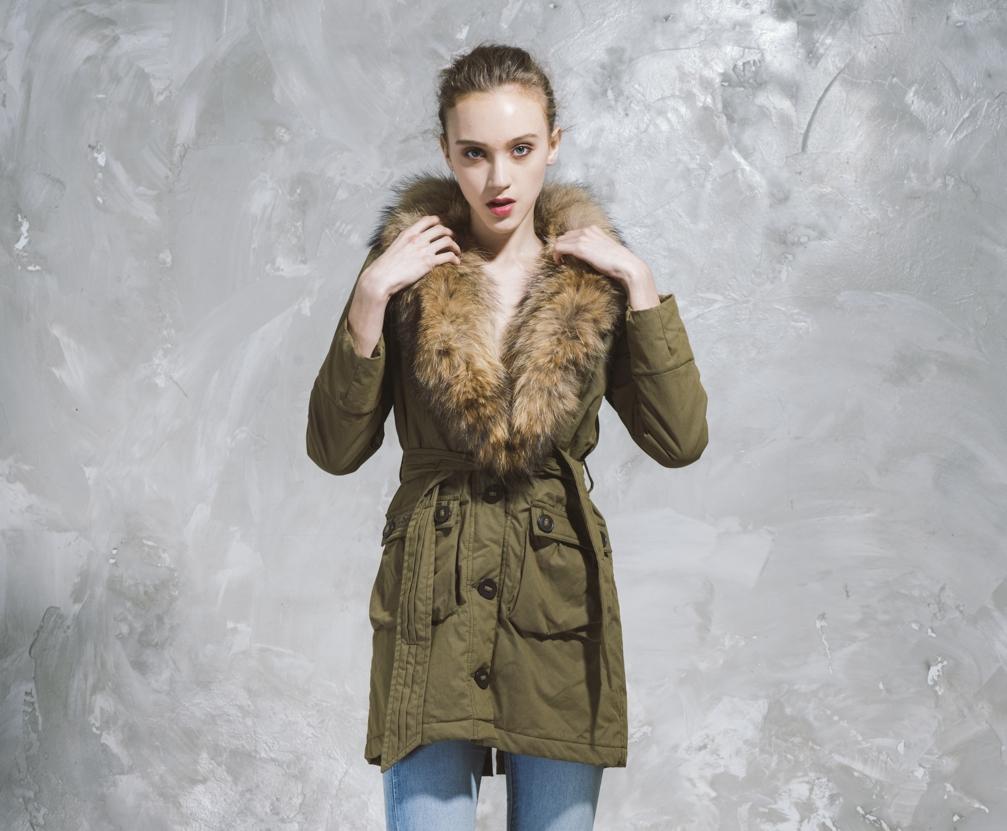 Long Down Coat with Fur Hood