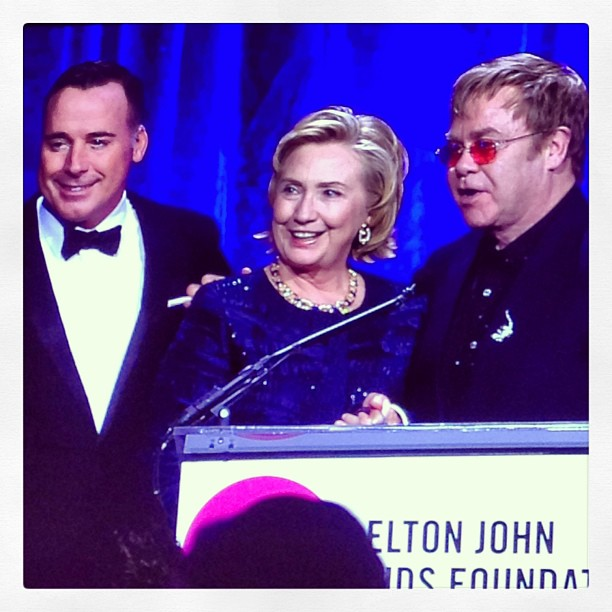 Is #hillaryclinton getting the founders award from the #eltonjohnaidsfoundation or announcing her candidacy for #president in 2016? Both! #eltonjohn #cipriani #wallst @shells1119 @cblutenyc @jaimken  (at Cipriani)