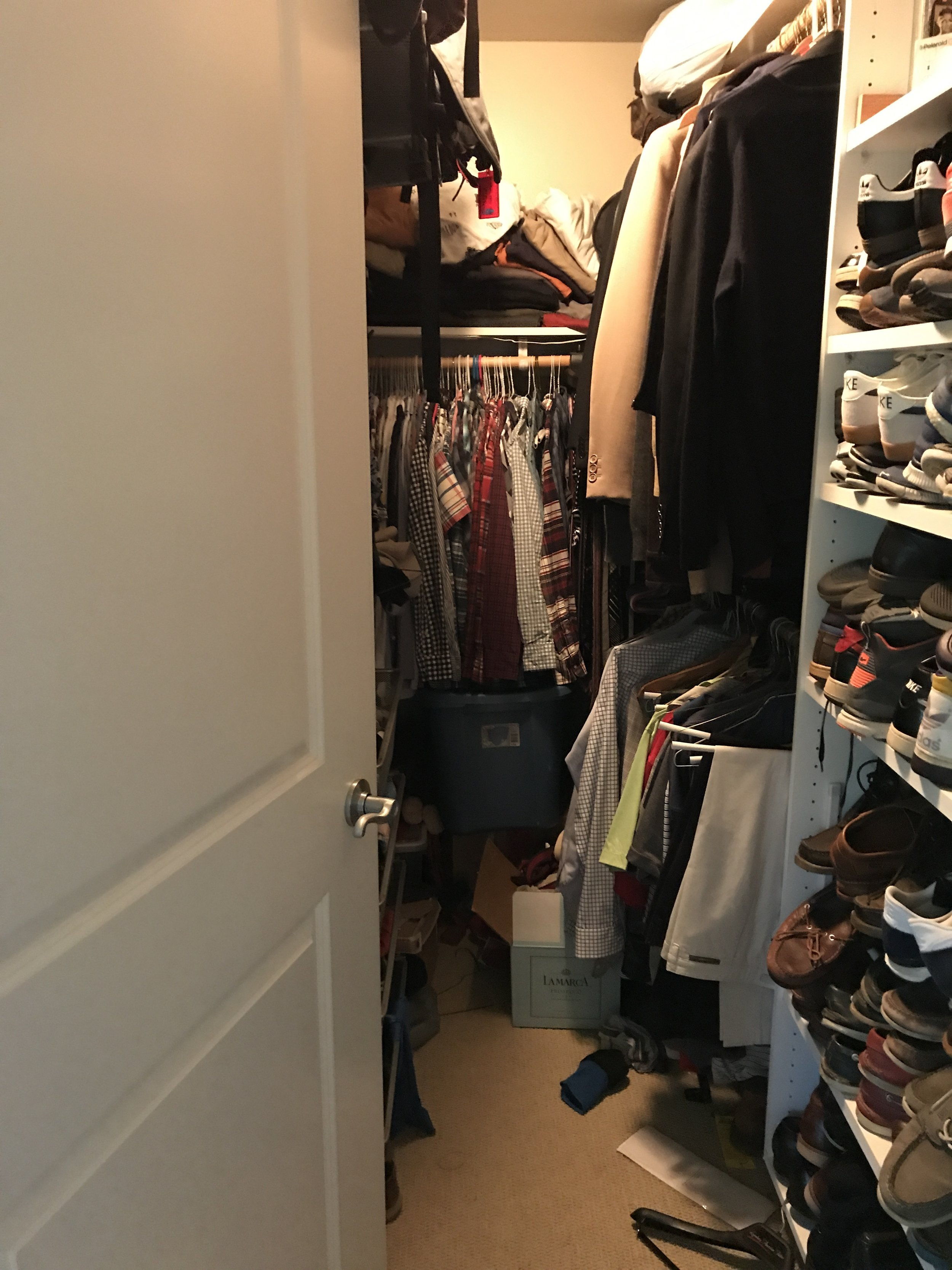 My closet Pre-KonMari.  It was an over crammed disorganized mess that gave me anxiety.