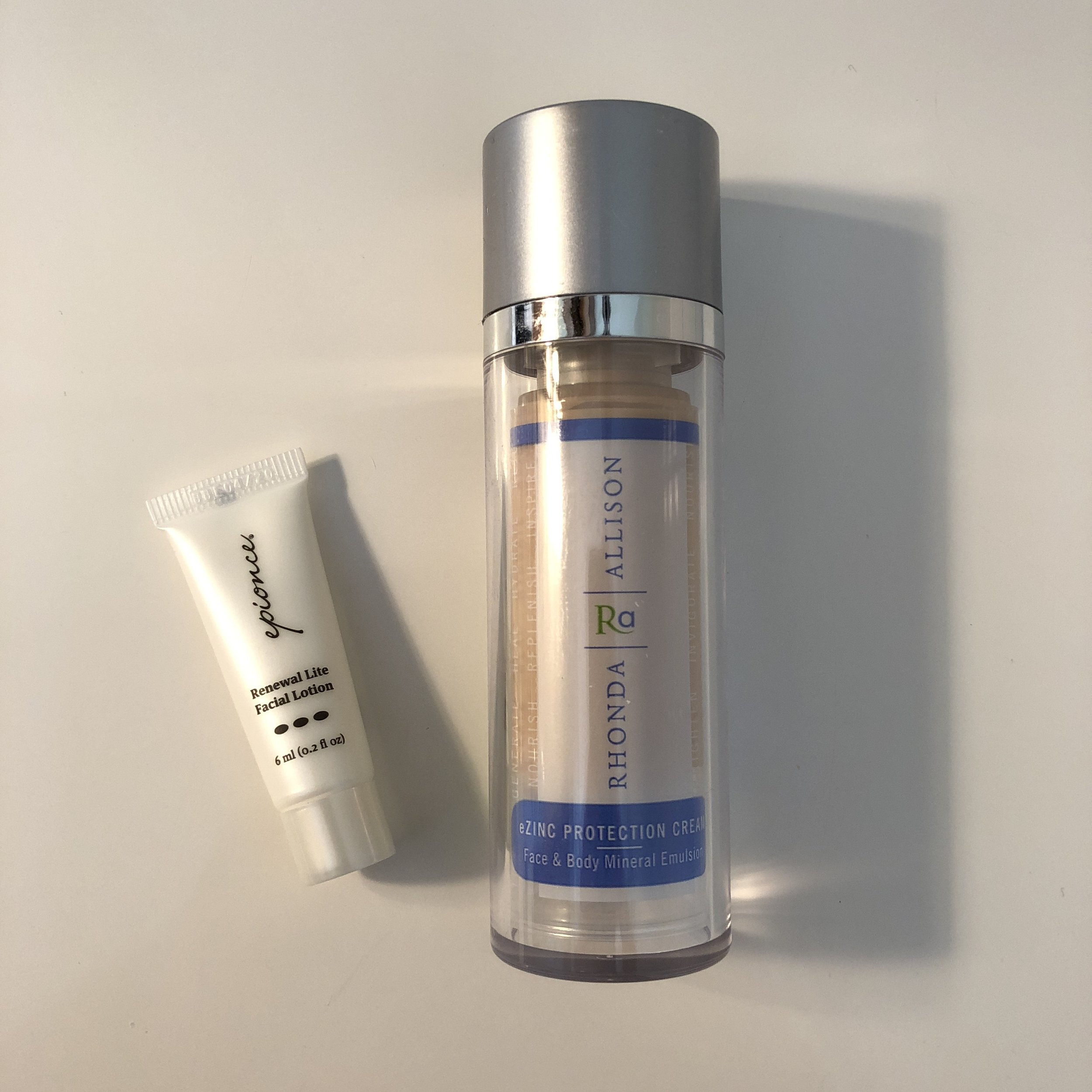 Trying these facial moisturizers:  Epionce  Renewal Lite Facial Lotion and  Rhonda Allison  eZINC Protection Cream.